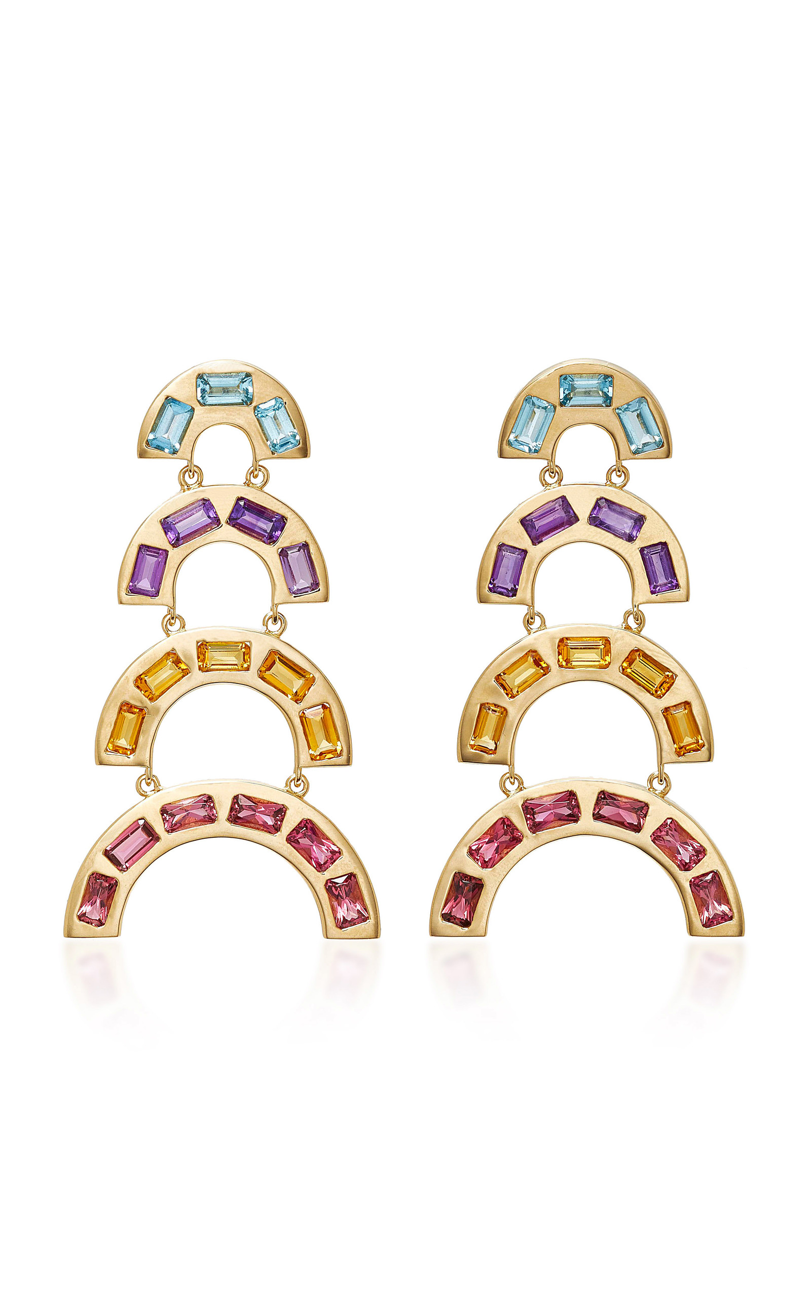 over multi itm sterling gold silver ct rainbow st earrings tgw gemstone cttw