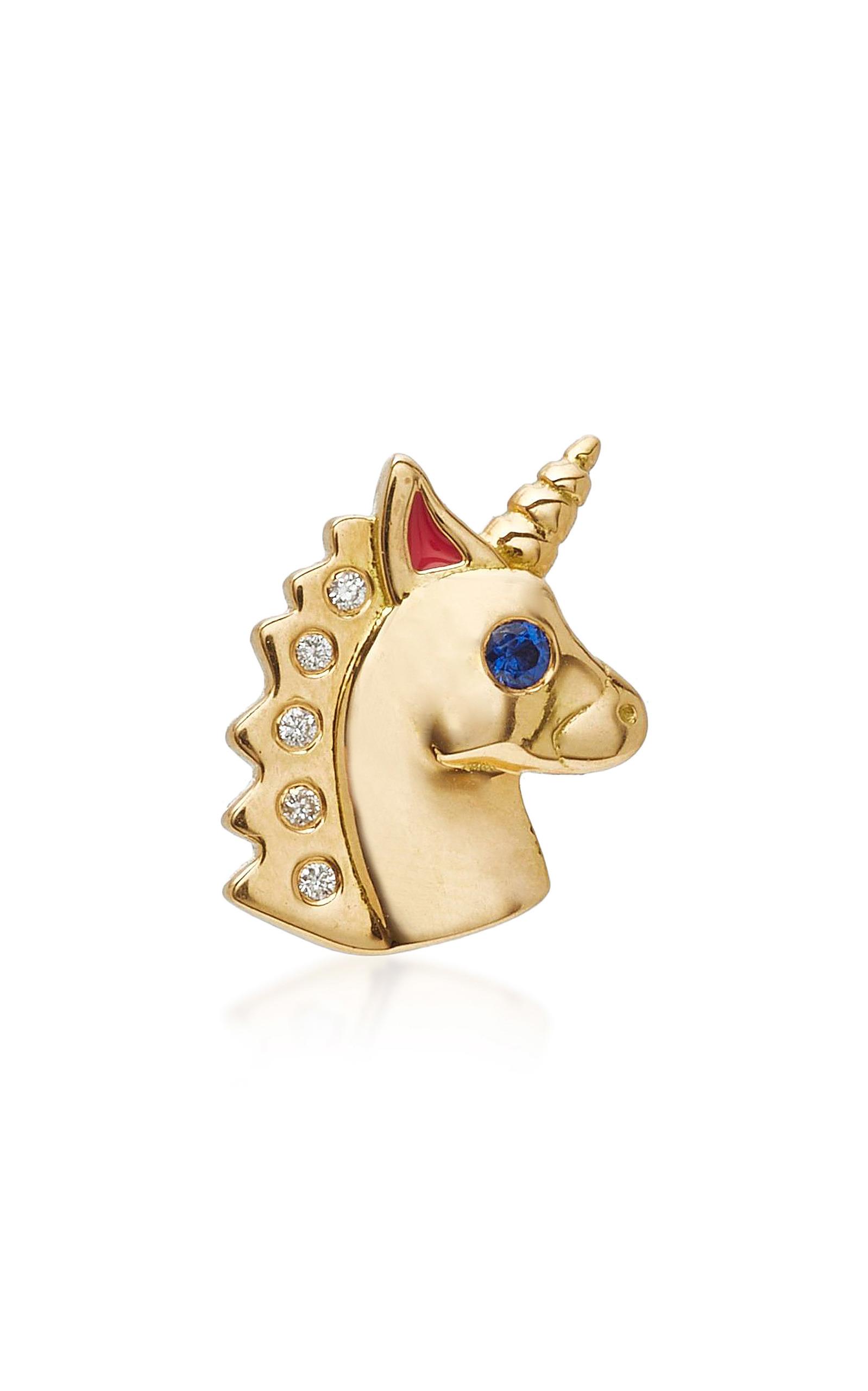 Small Unicorn Left Single Stud Earring by Brent Neale | Moda Operandi