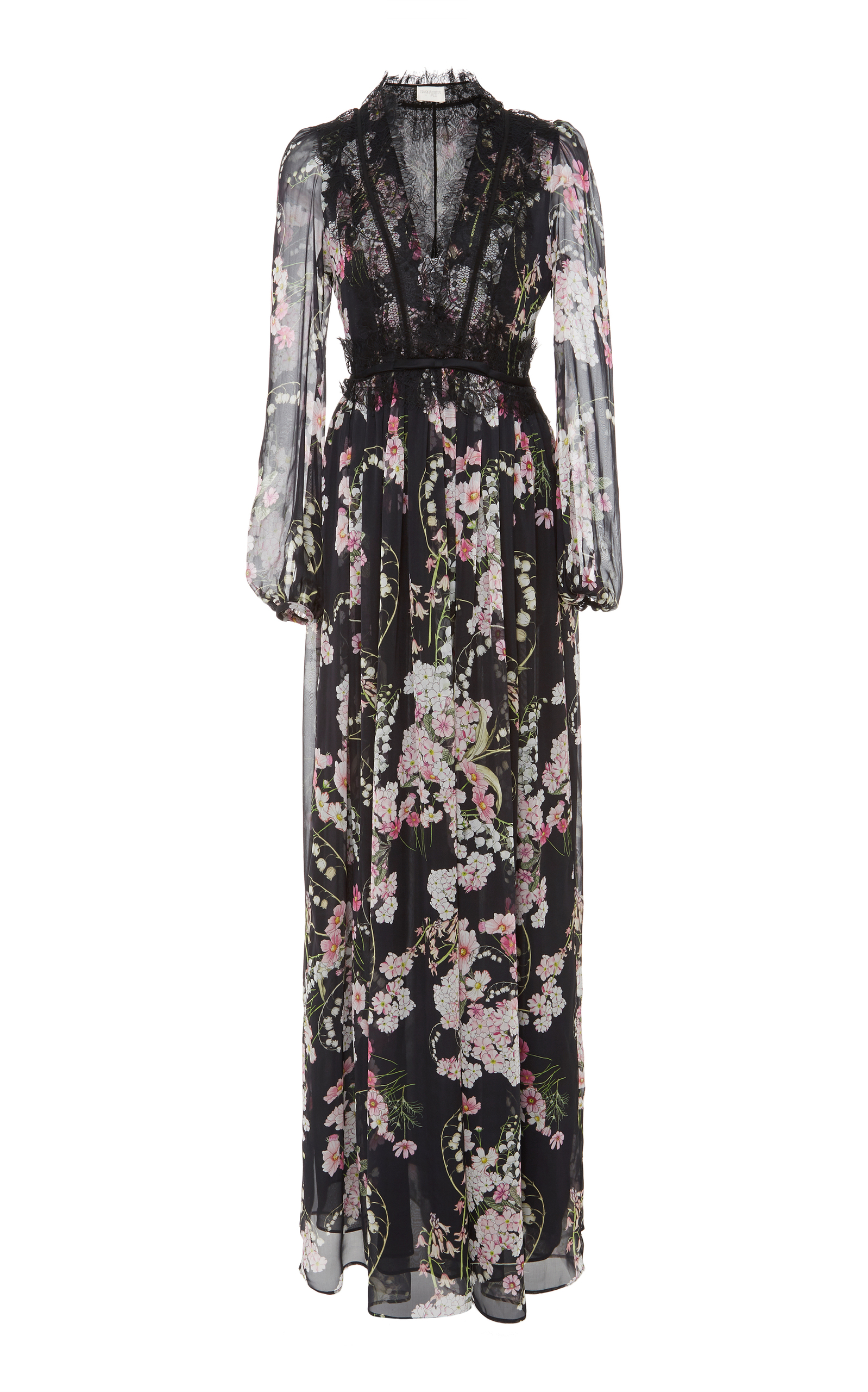 Lace-trimmed Floral-print Silk-chiffon Maxi Dress - Black Giambattista Valli Clearance Best Place Pictures Sale Online Discount Footlocker Finishline Discounts Cheap Amazon 37wjqBVH
