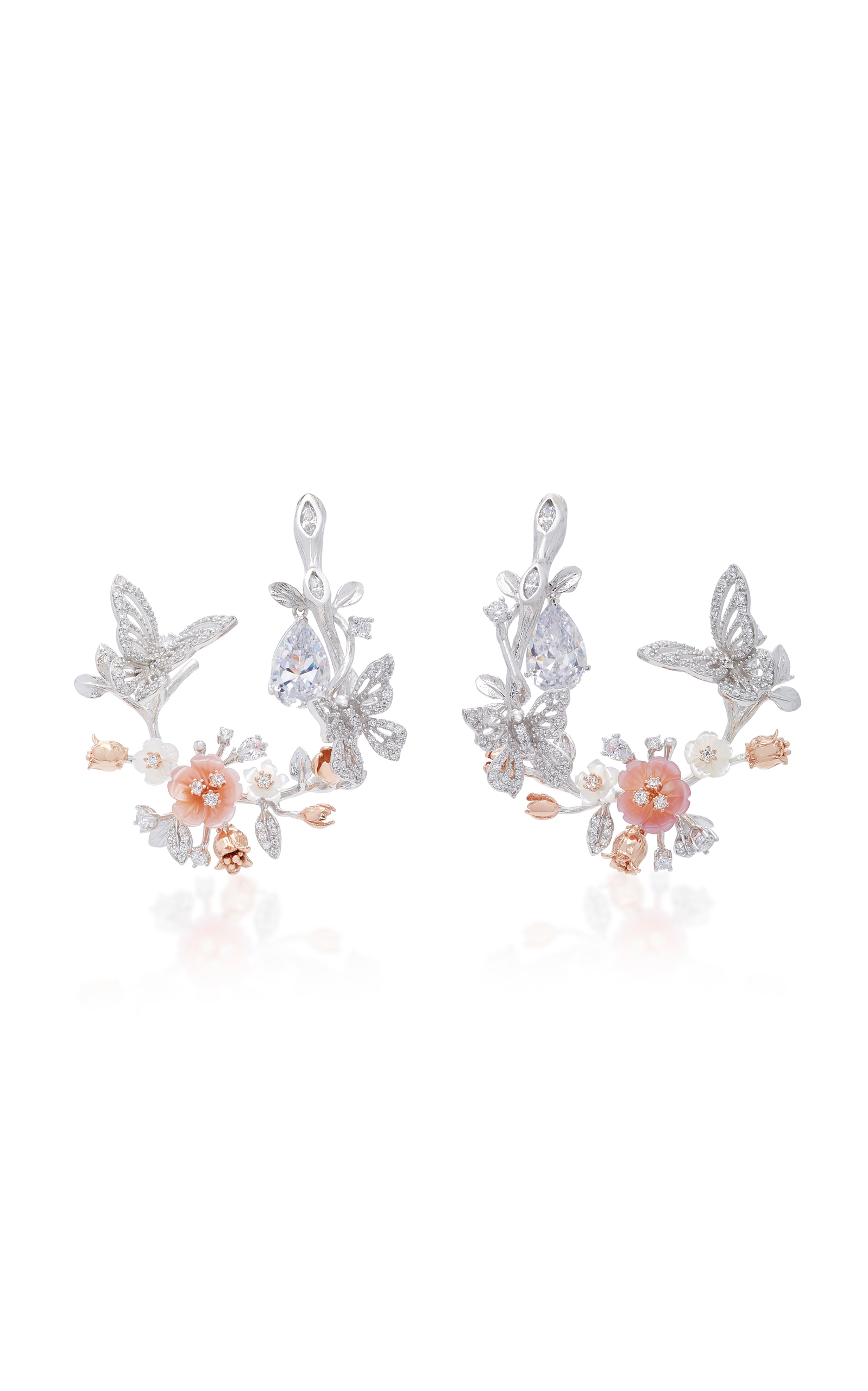 ANABELA CHAN M'O EXCLUSIVE 18K WHITE GOLD BUTTERFLY GARLAND EARRINGS