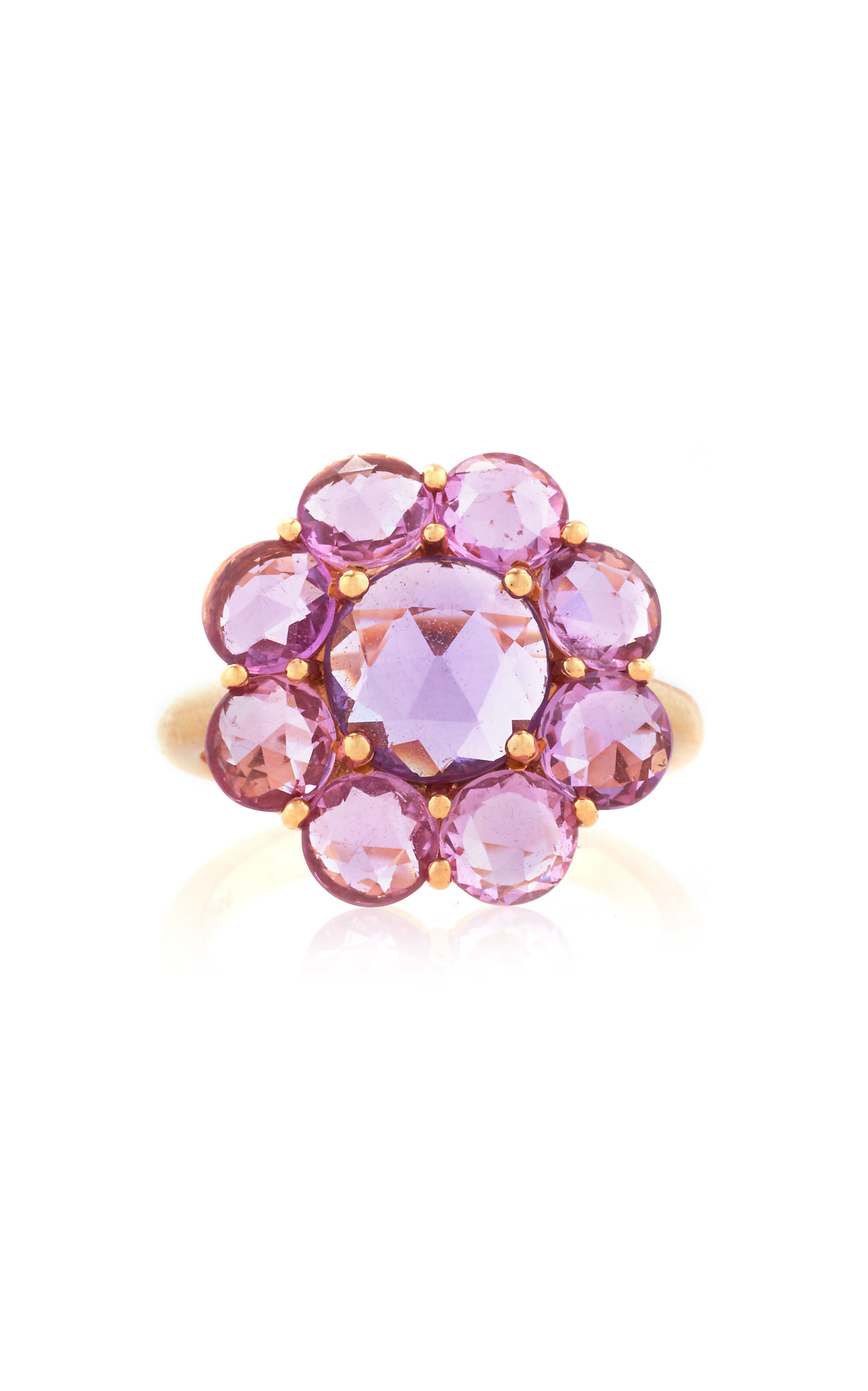 pink in diamond ring engagement gold karat lilac white sapphire