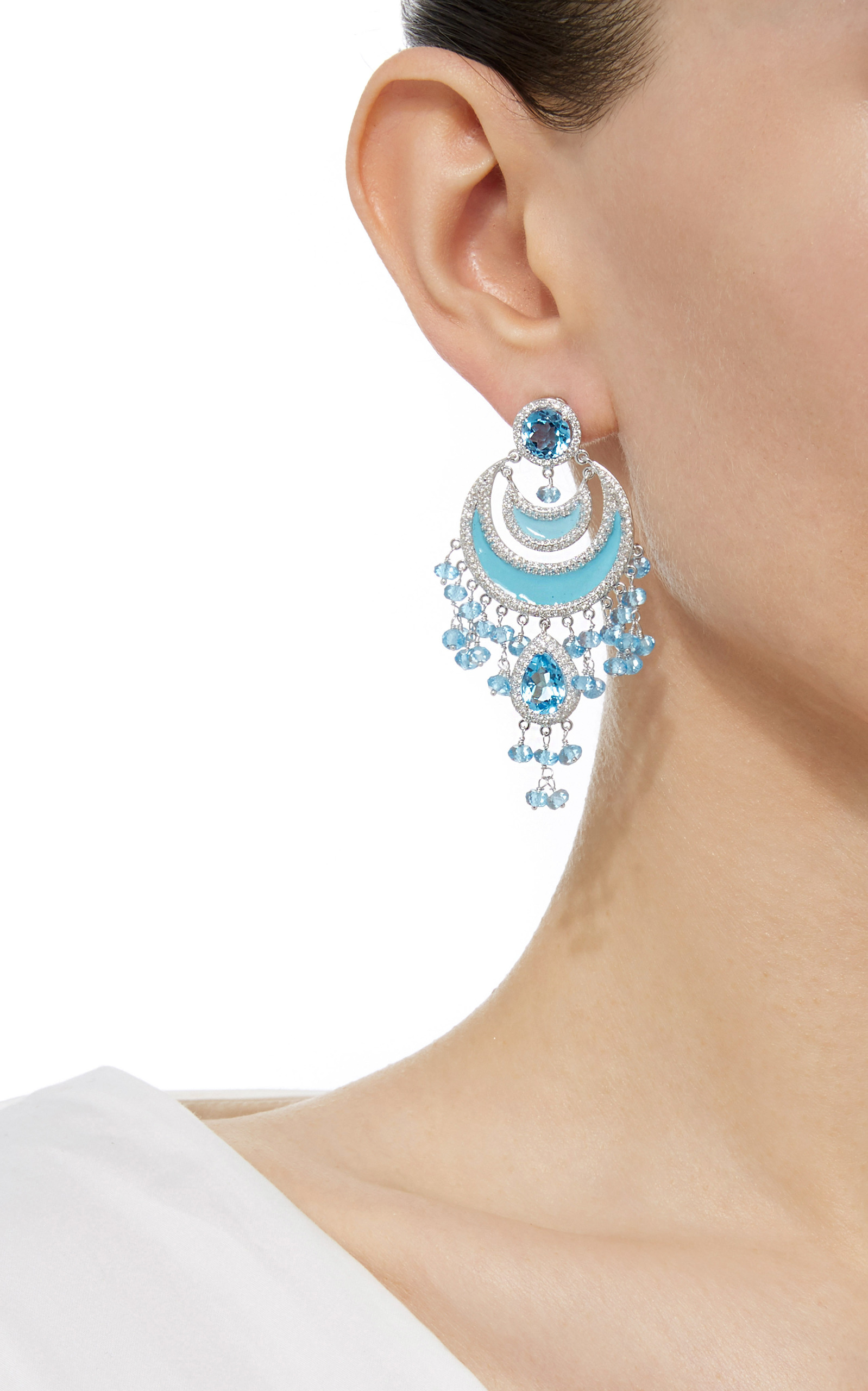 Gold Chandelier Earrings with Diamond and Blue Topaz