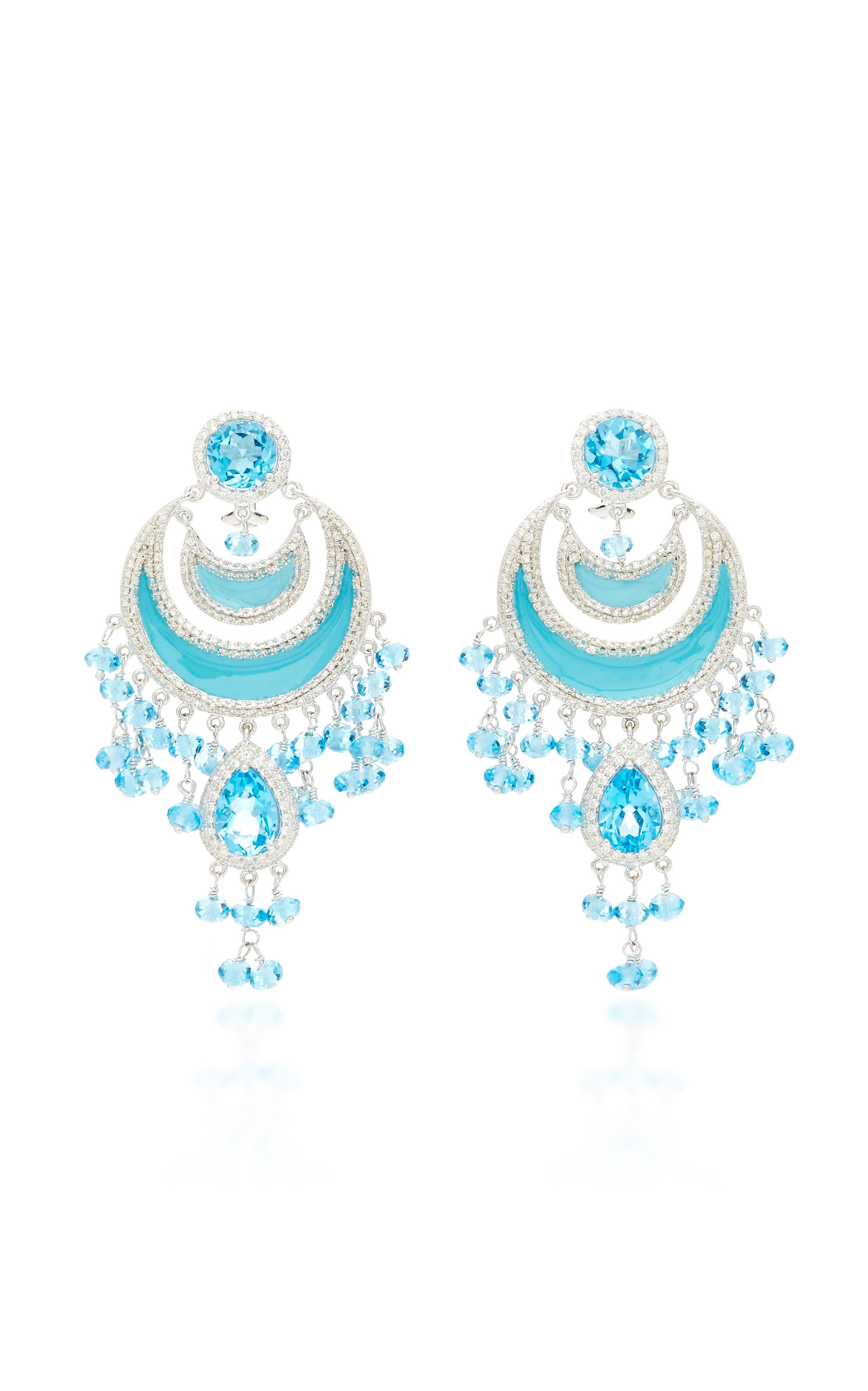 Gold chandelier earrings with diamond and blue topaz moda operandi aloadofball Image collections