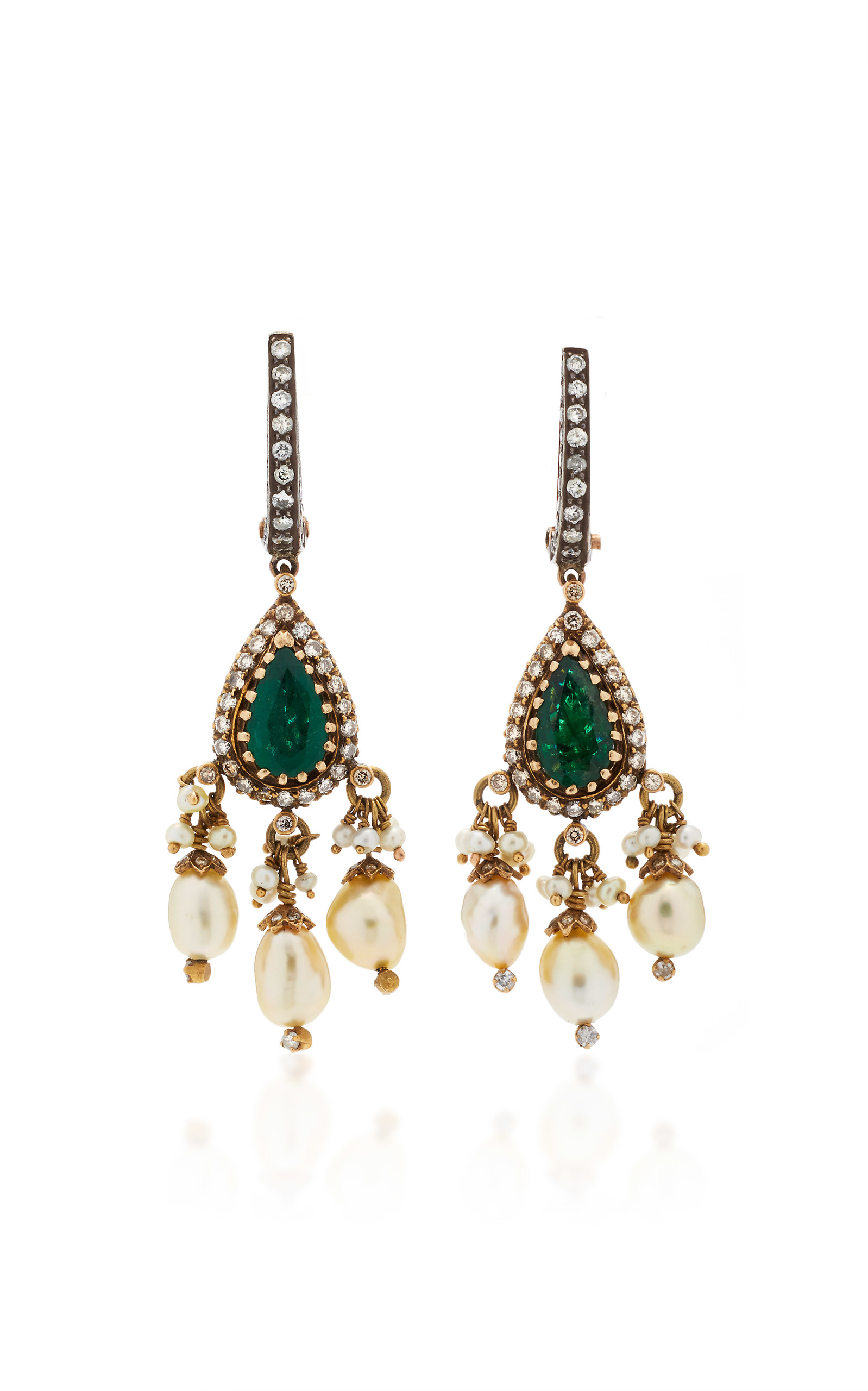 0a7775406d68d Gold Drop Earrings with Diamond, Emerald & Pearls