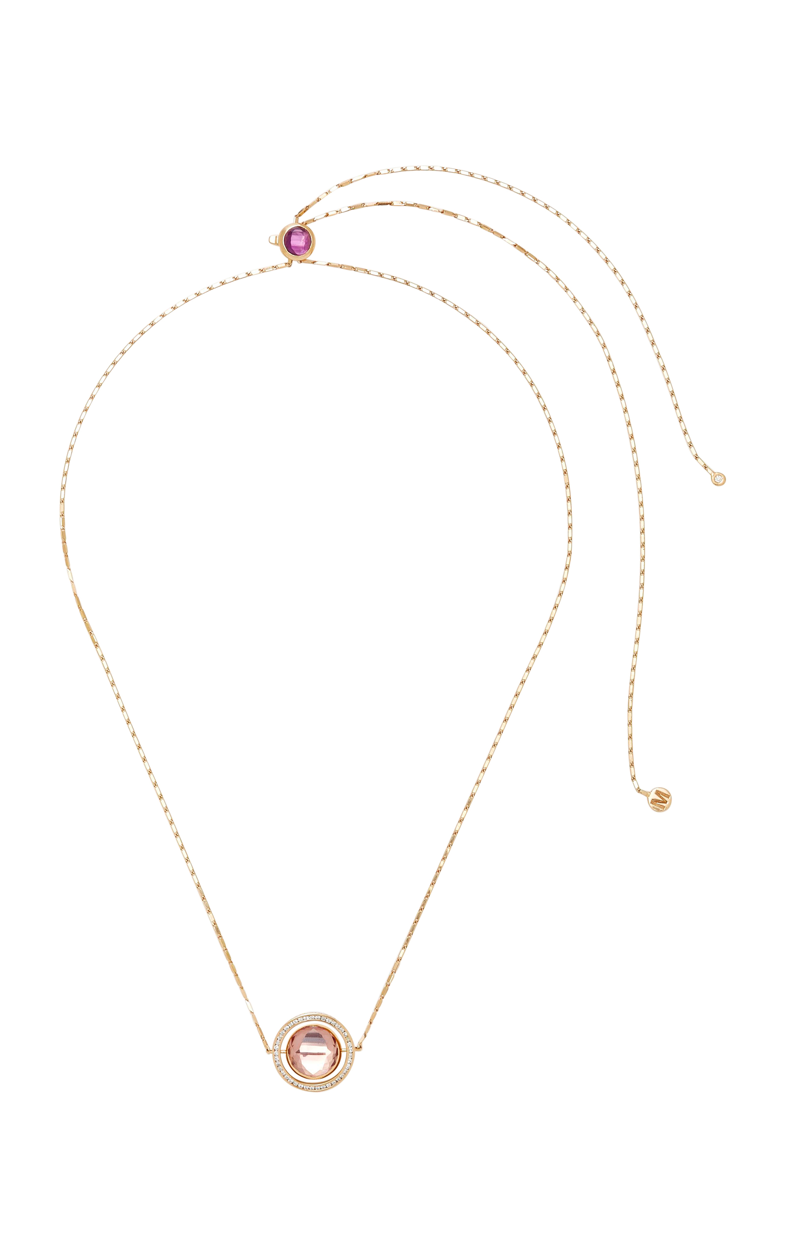 MARIE MAS 18K ROSE GOLD AND MULTI-STONE SWIVELING NECKLACE