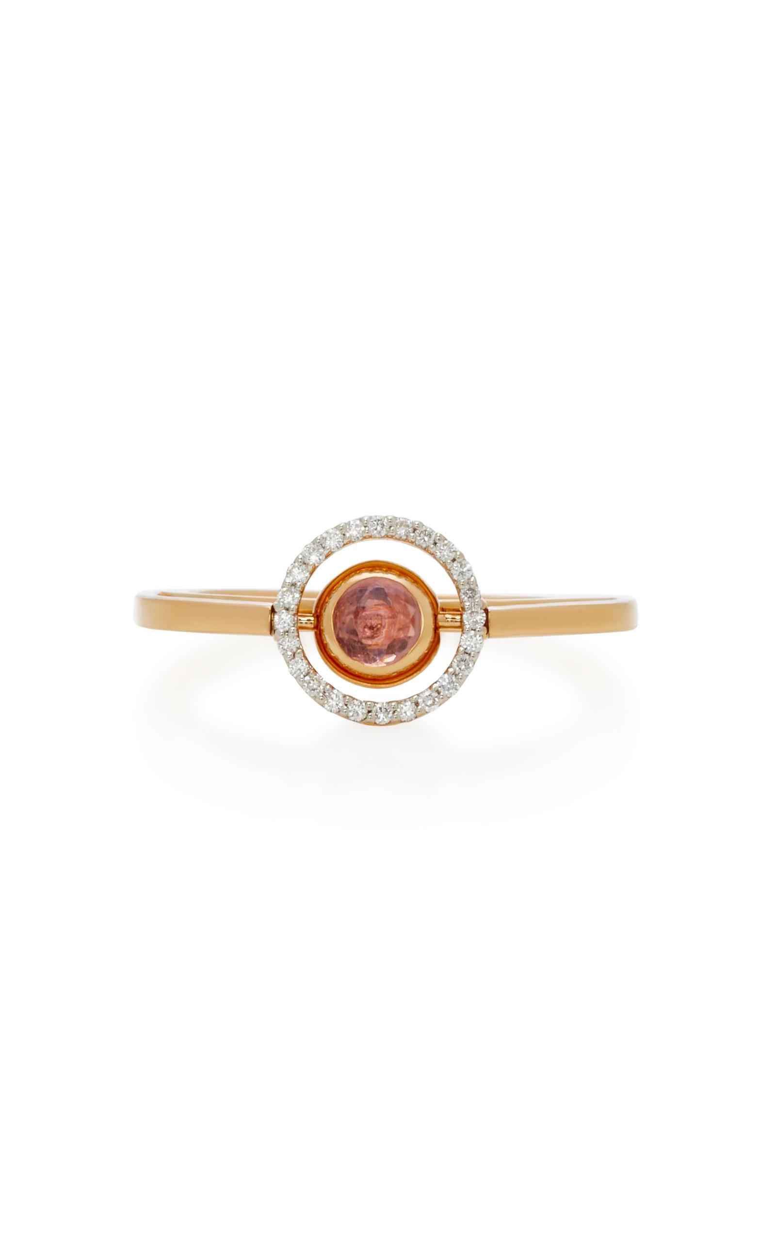 MARIE MAS SWIVELING ROSE GOLD DIAMOND AMETHYST AND TOPAZ RING