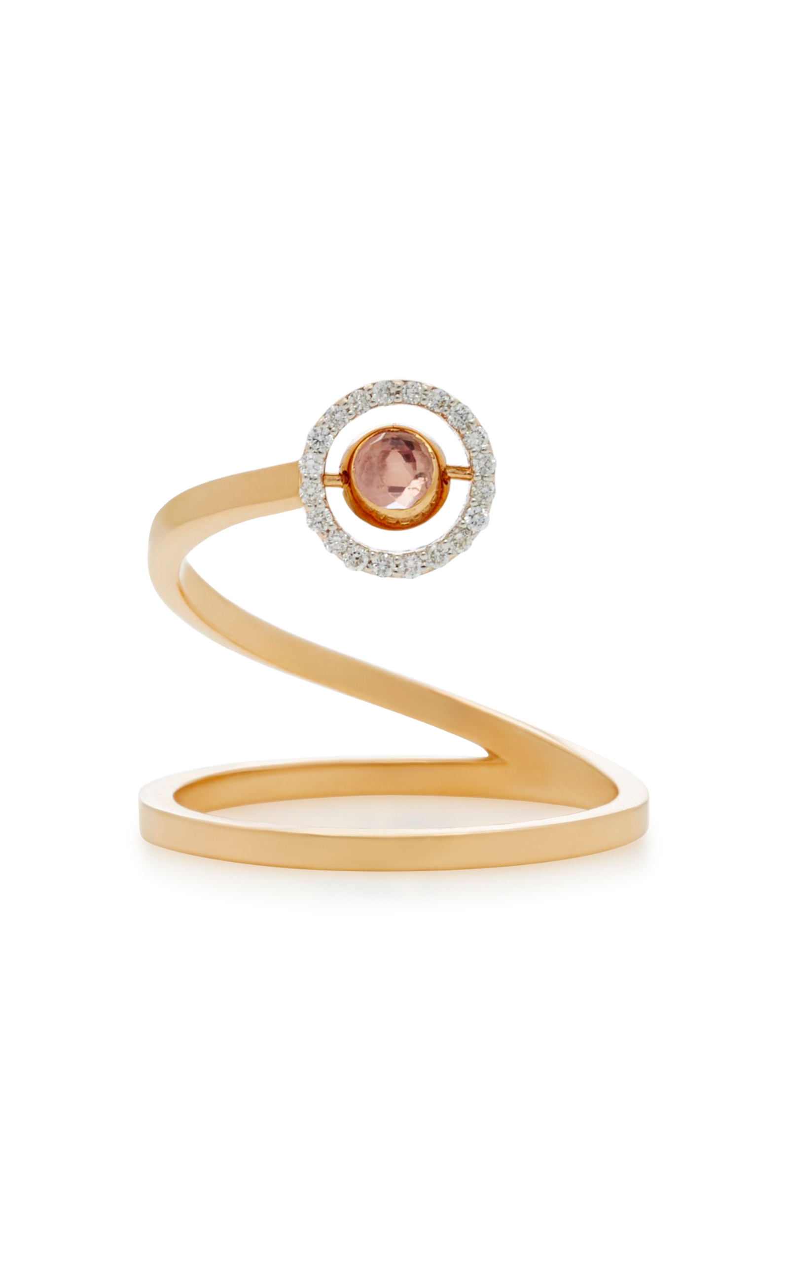 MARIE MAS SWIVELING 18K ROSE GOLD BLUE TOPAZ AND PINK AMETHYST SPIRAL RING