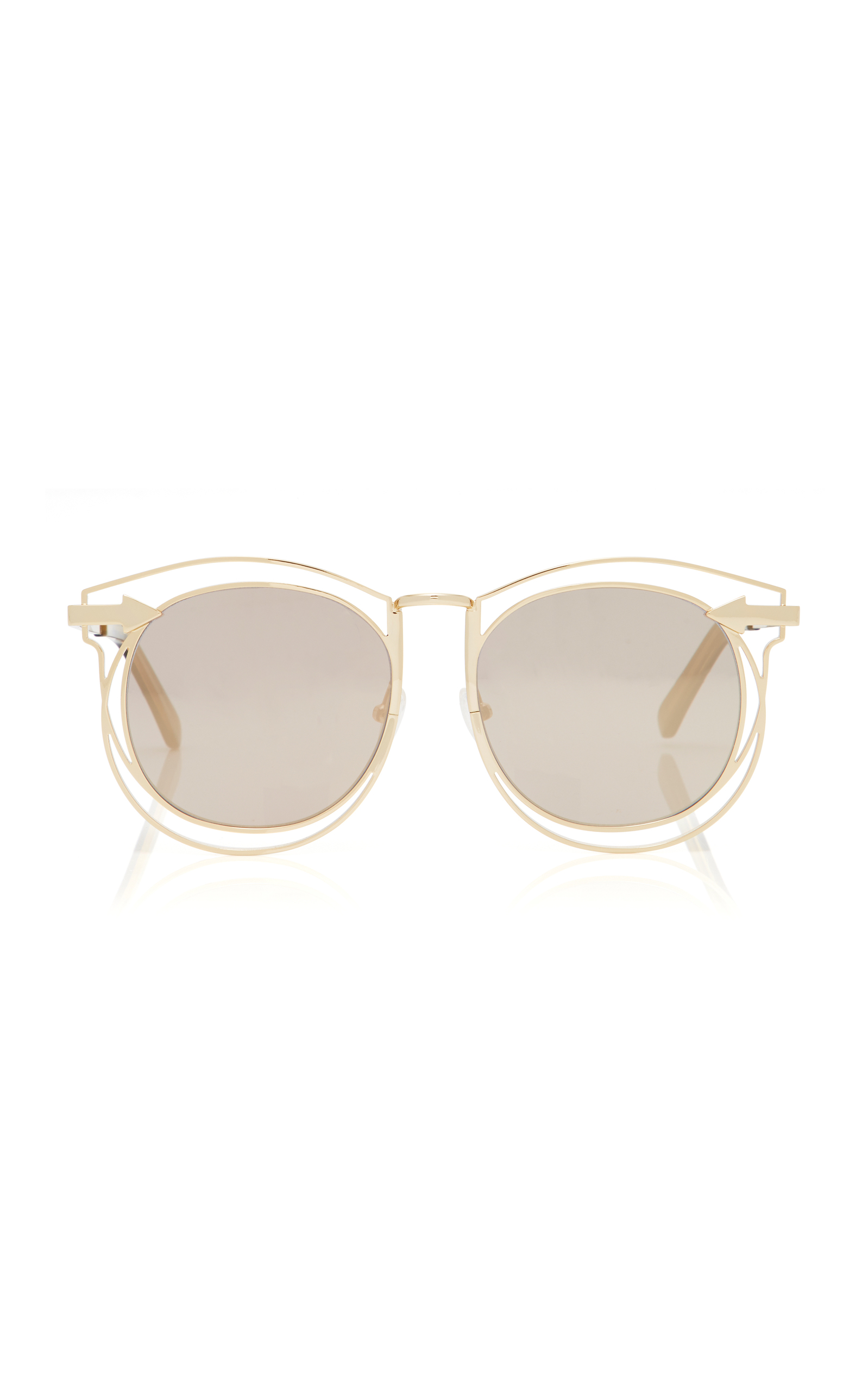 KAREN WALKER Superstar Simone Round-Frame Acetate Sunglasses, Gold ...