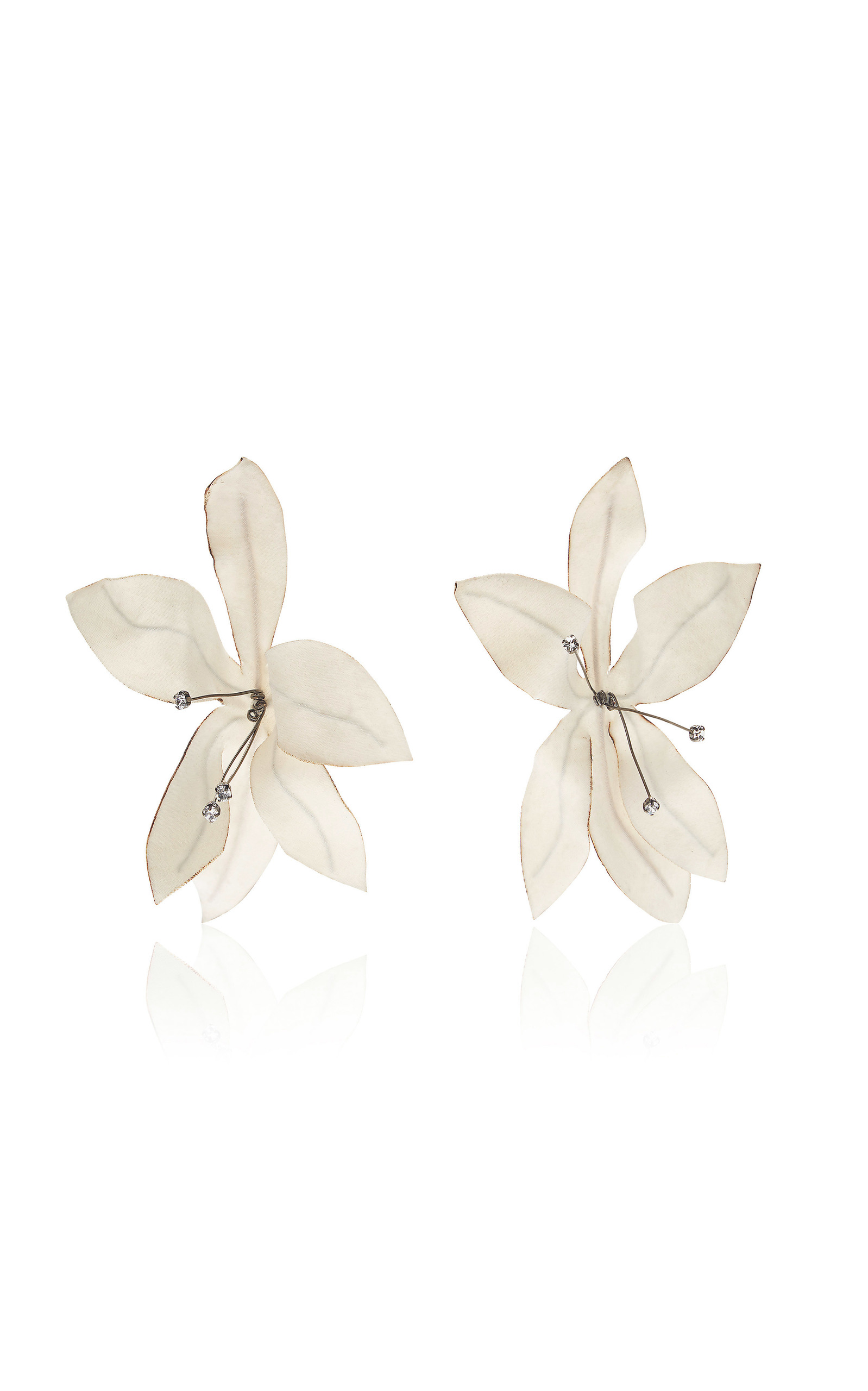 Fabric Flowers And Strass Earrings By Marni Moda Operandi