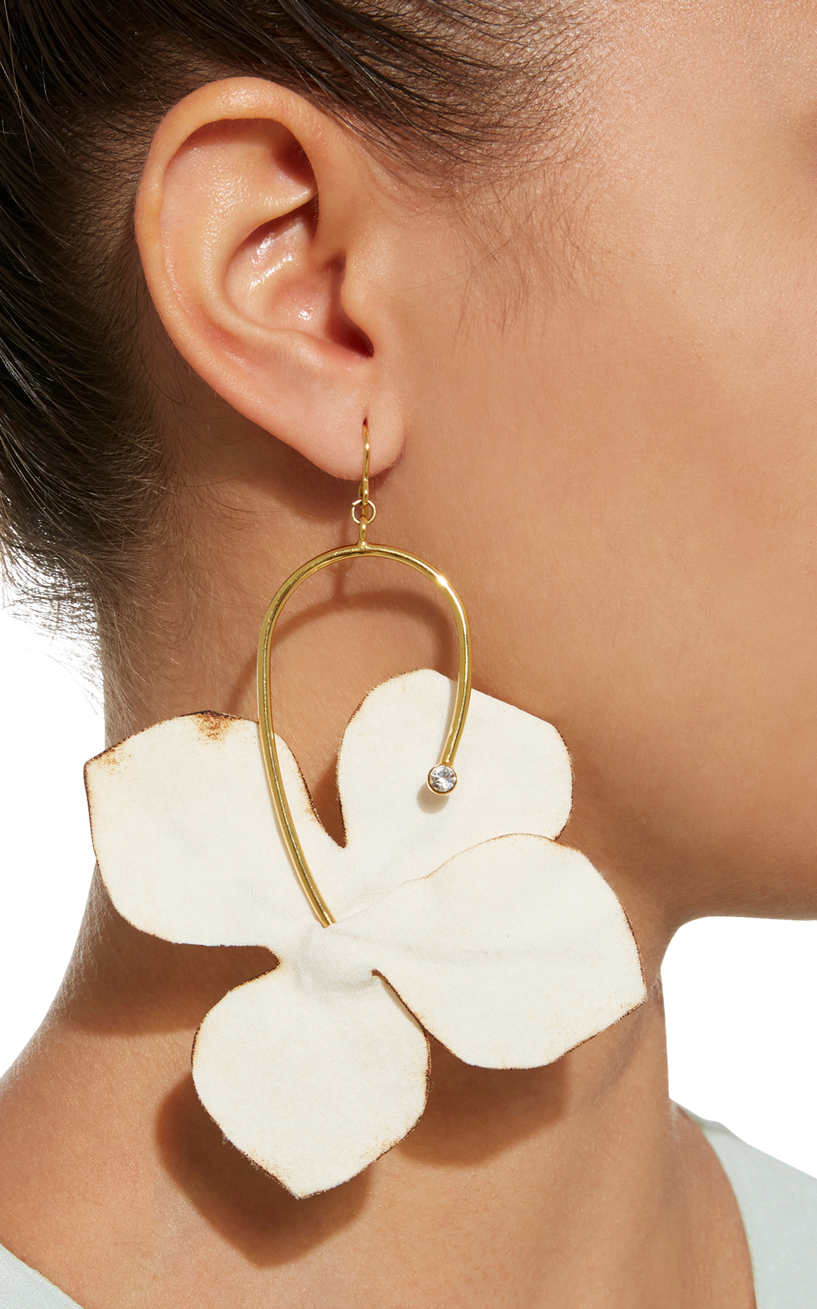 Fabric flowers and strass earrings by marni moda operandi loading mightylinksfo