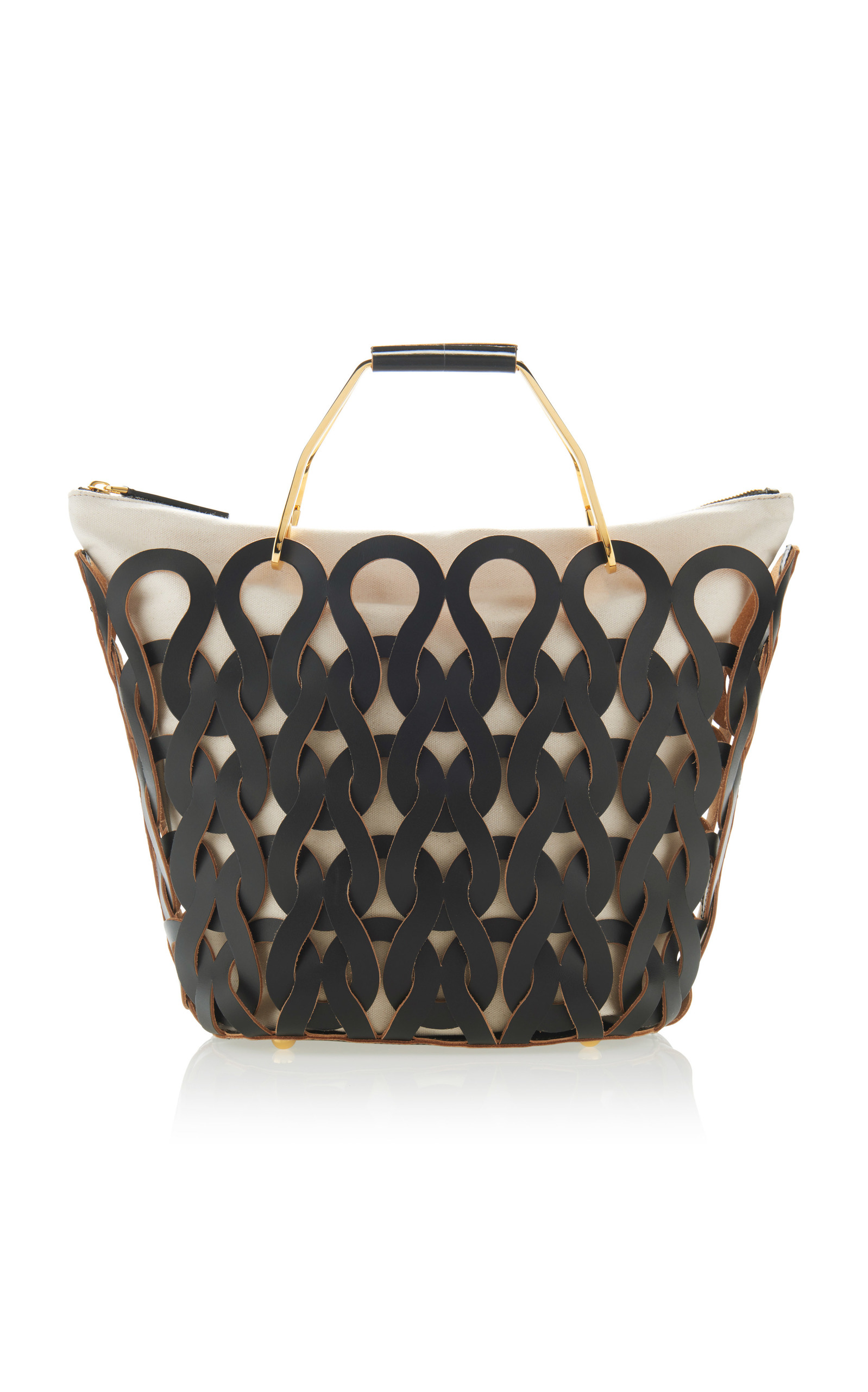 TRICOT WOVEN LEATHER AND CANVAS TOTE