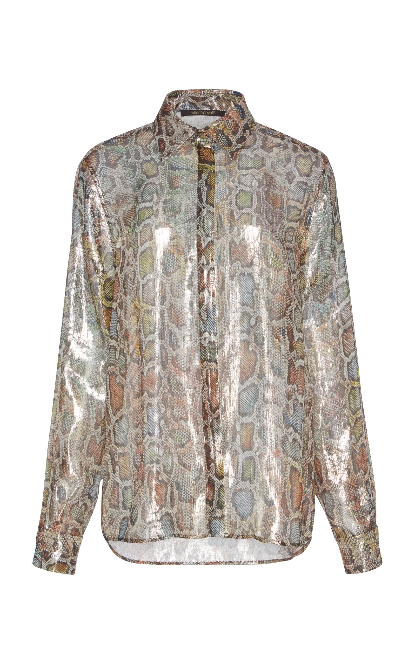 fa7a3c1af4d Roberto CavalliMetallic Silk Shirt. CLOSE. Loading