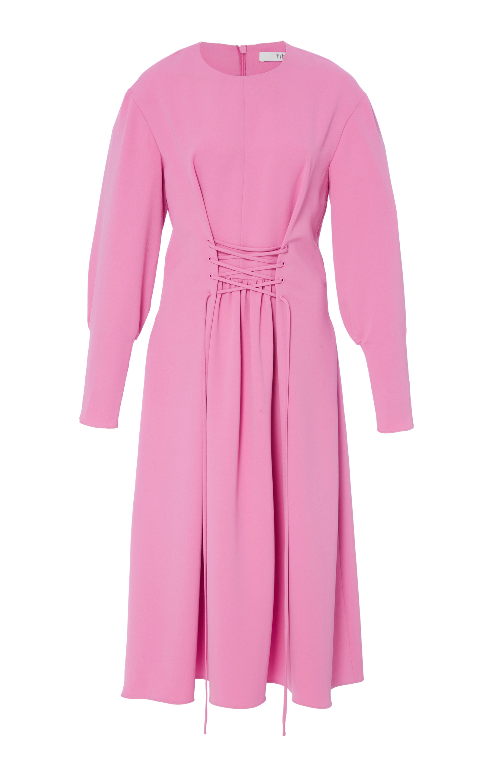 TWILL DRESS WITH LACE-UP FRONT
