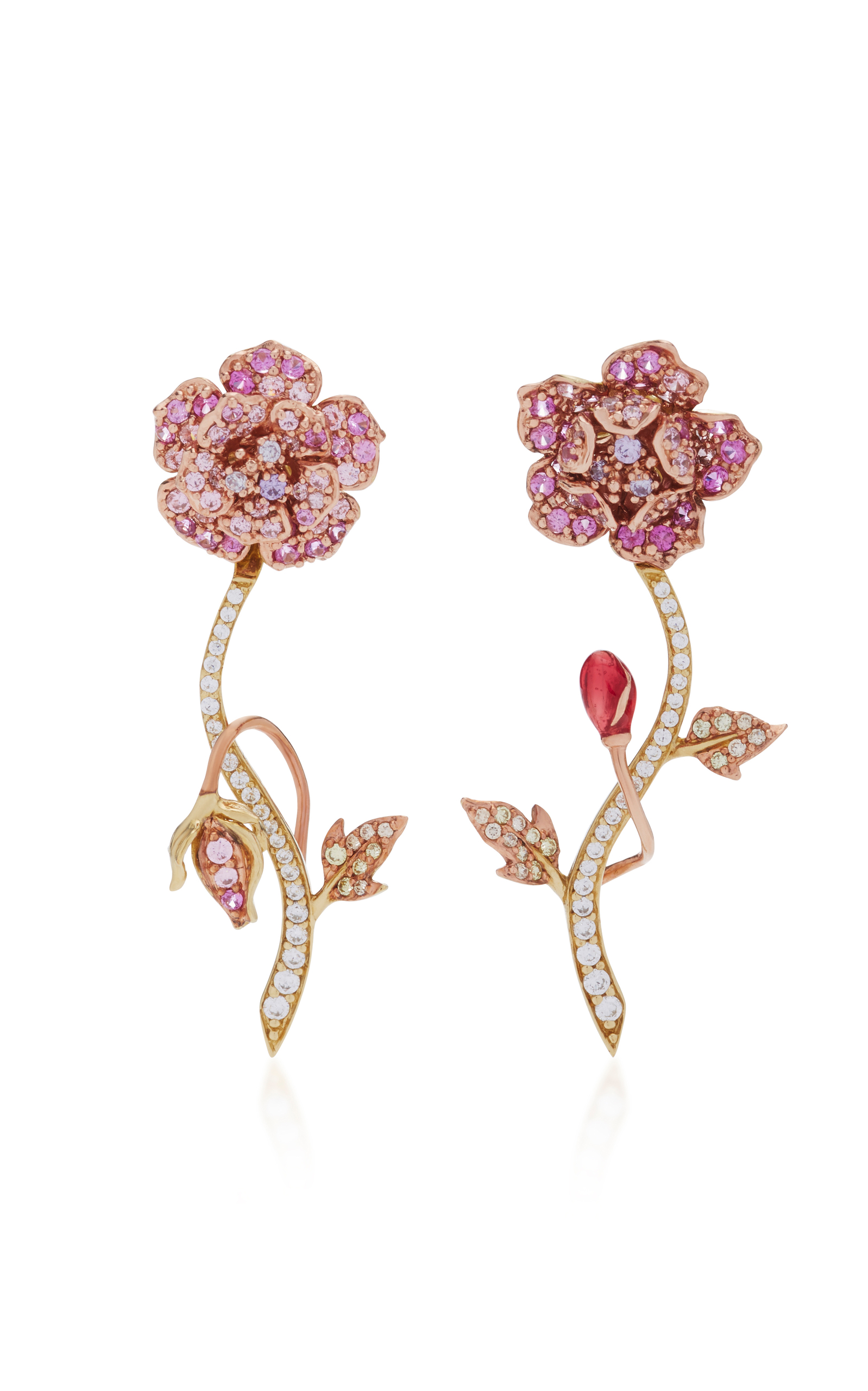 Anabela Chan 18k Gold Vermeil Daisy Diamond And Shire Earrings In Pink