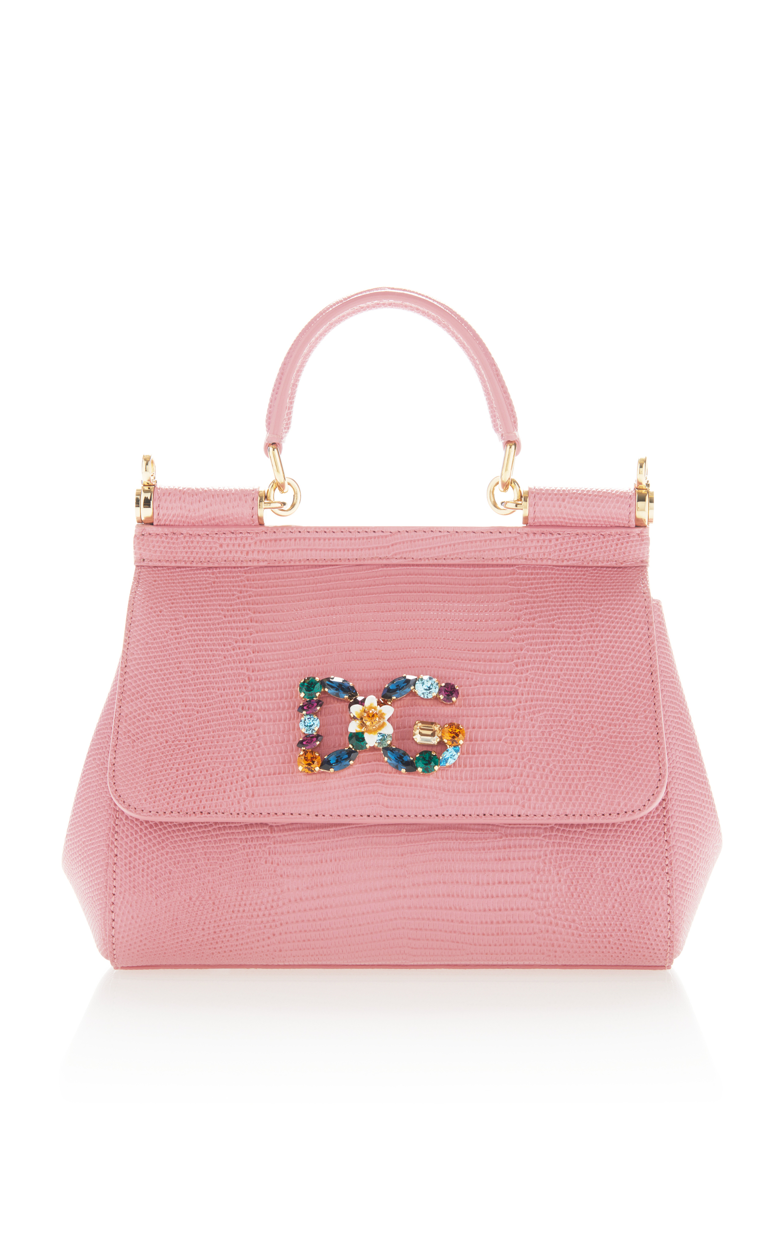 Dolce   Gabbana Small Sicily Handbag In Iguana Print Calfskin With Dg Logo  Crystals In Pink 0a838340e1