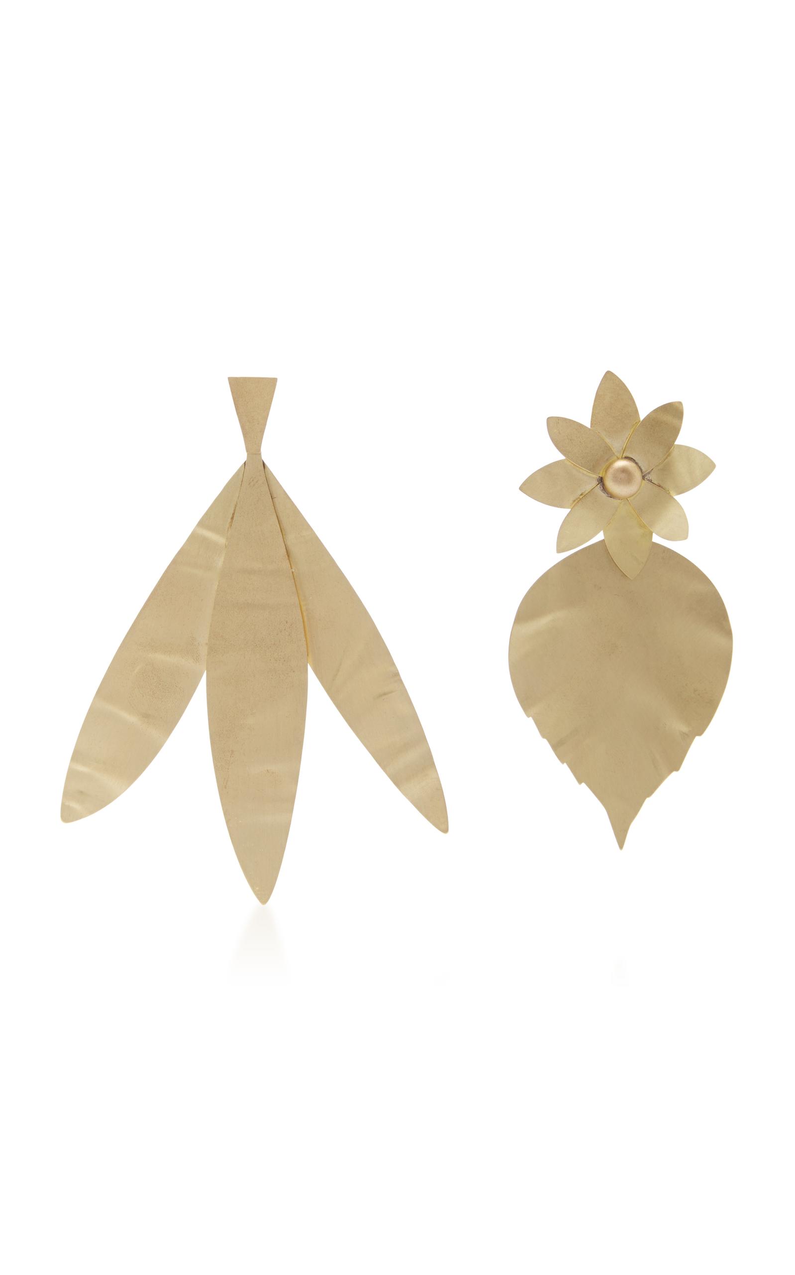 Hammered Metal Leaf Earring