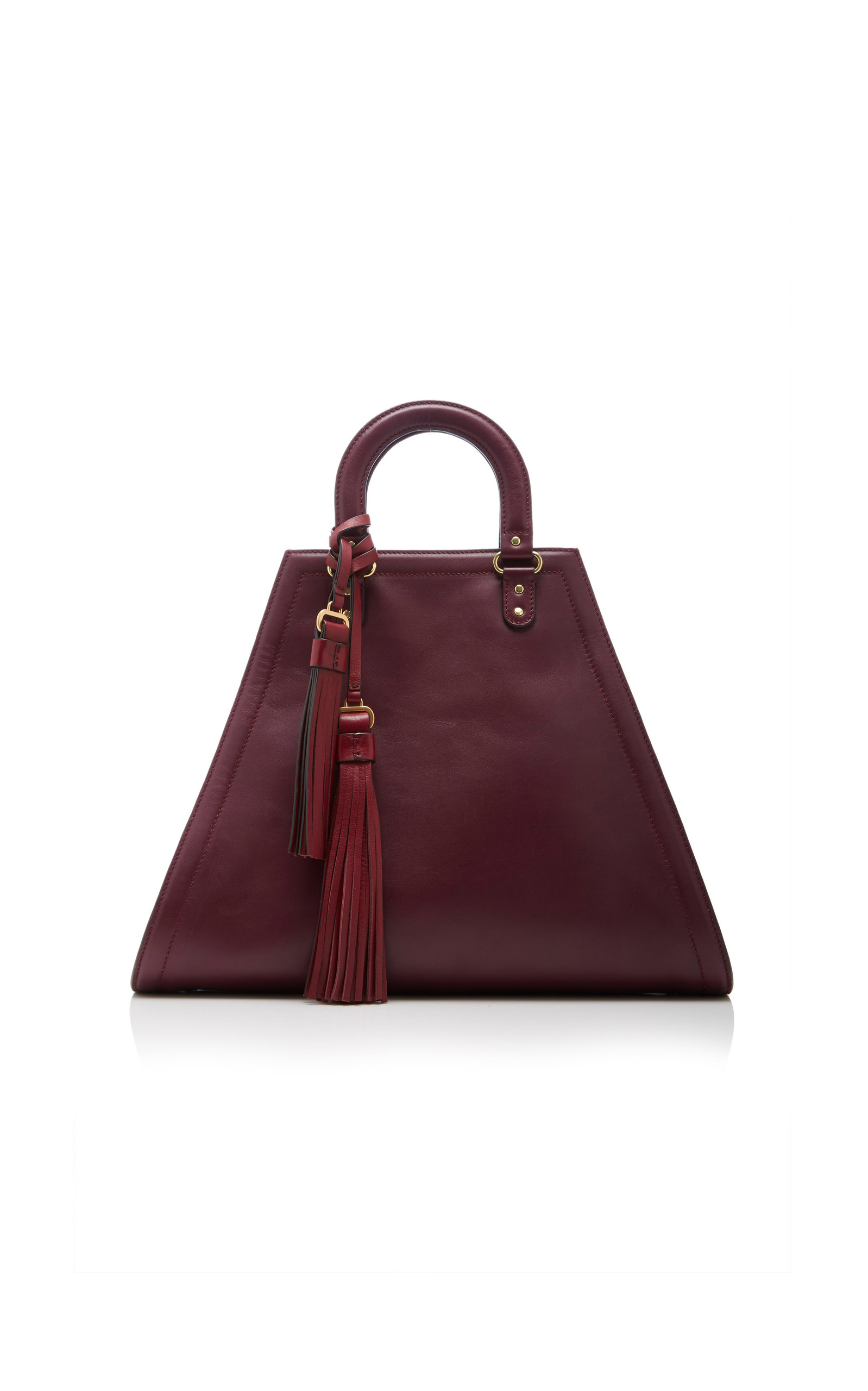 Womens Triangle Leather Tote Bag Mansur Gavriel