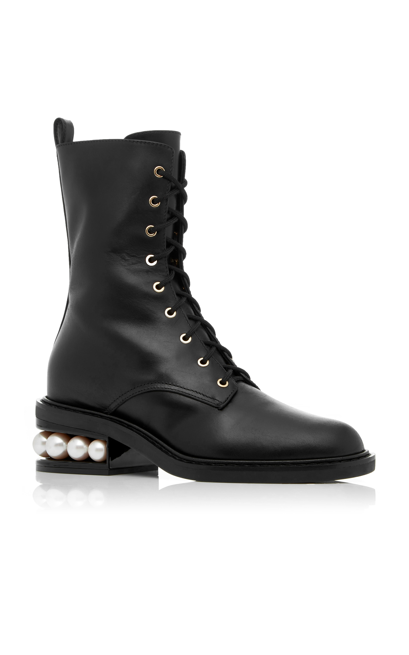 Nicholas Kirkwood Casati Pearl Leather Combat Boots RySVNYSVN9