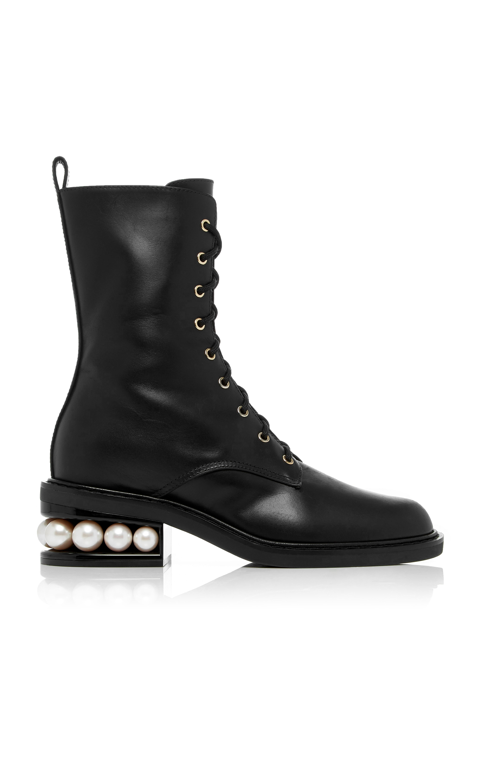 Casati Leather Combat Boots - Black Size 6