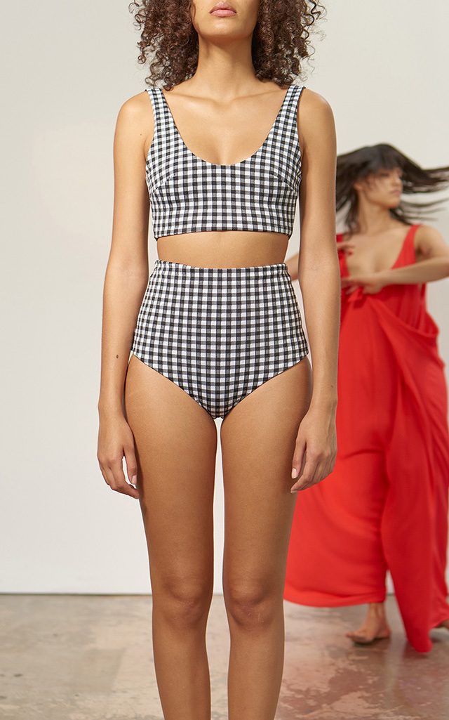 35e8f5f31f Plaid Lydia High Waisted Bikini Bottom by Mara Hoffman | Moda Operandi