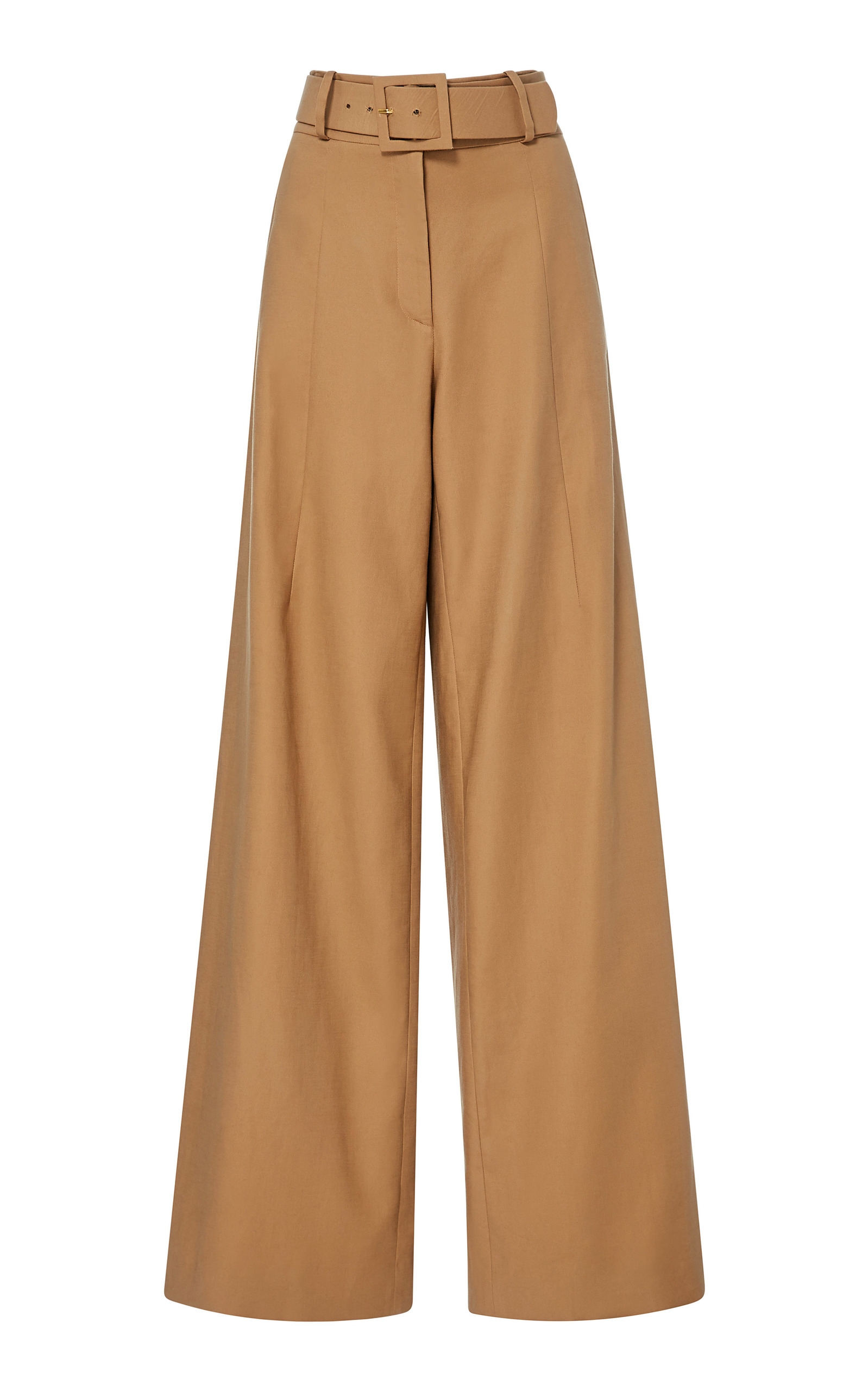 High Rise Wide Leg Cotton Blend Trousers - Womens - Tan Oscar De La Renta Get Authentic Clearance Professional Sale Buy Cheap Wide Range Of Natural And Freely s4oYEFJu1