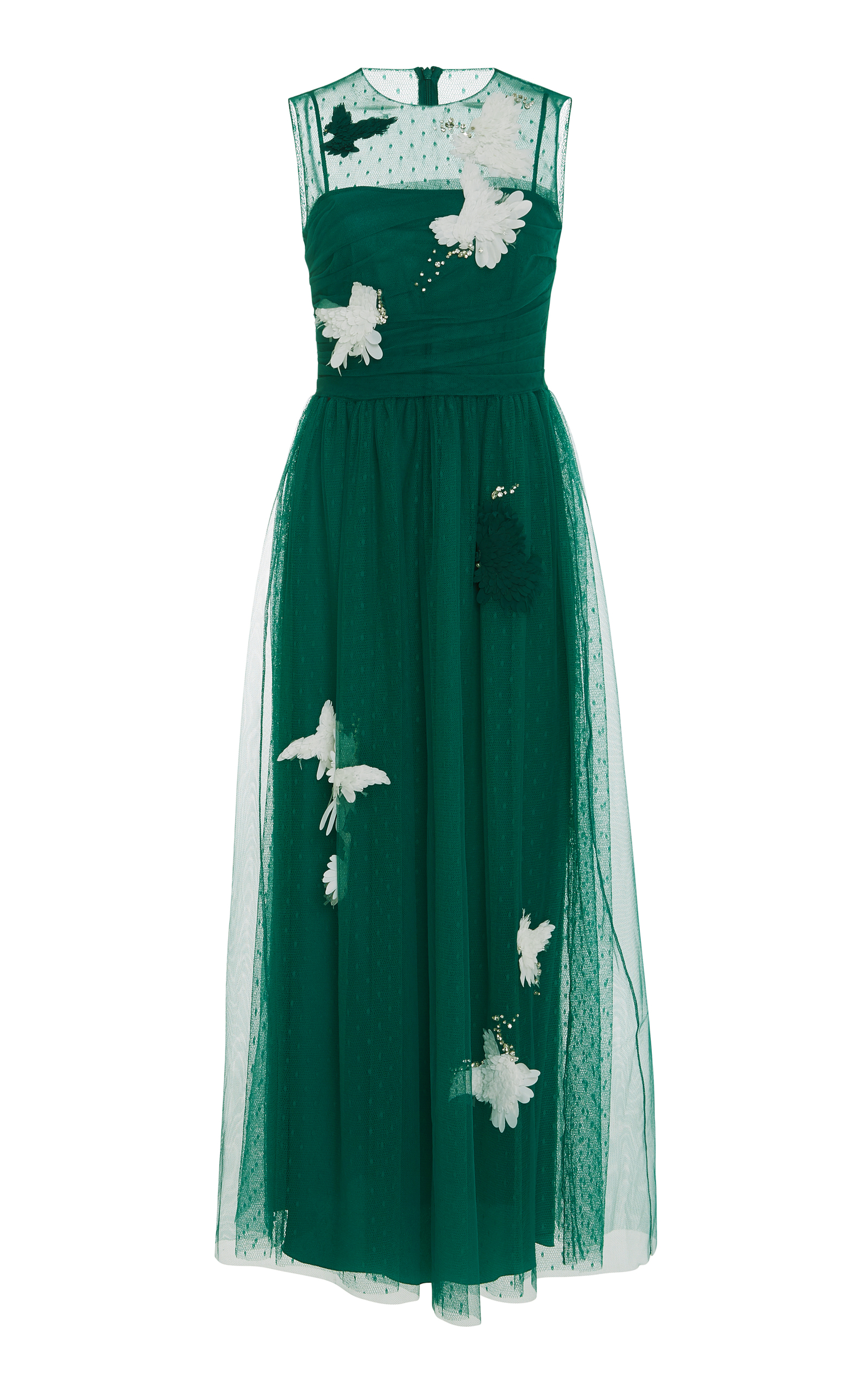 Red Valentino Point D Esprit Sleeveless Midi Dress In Green