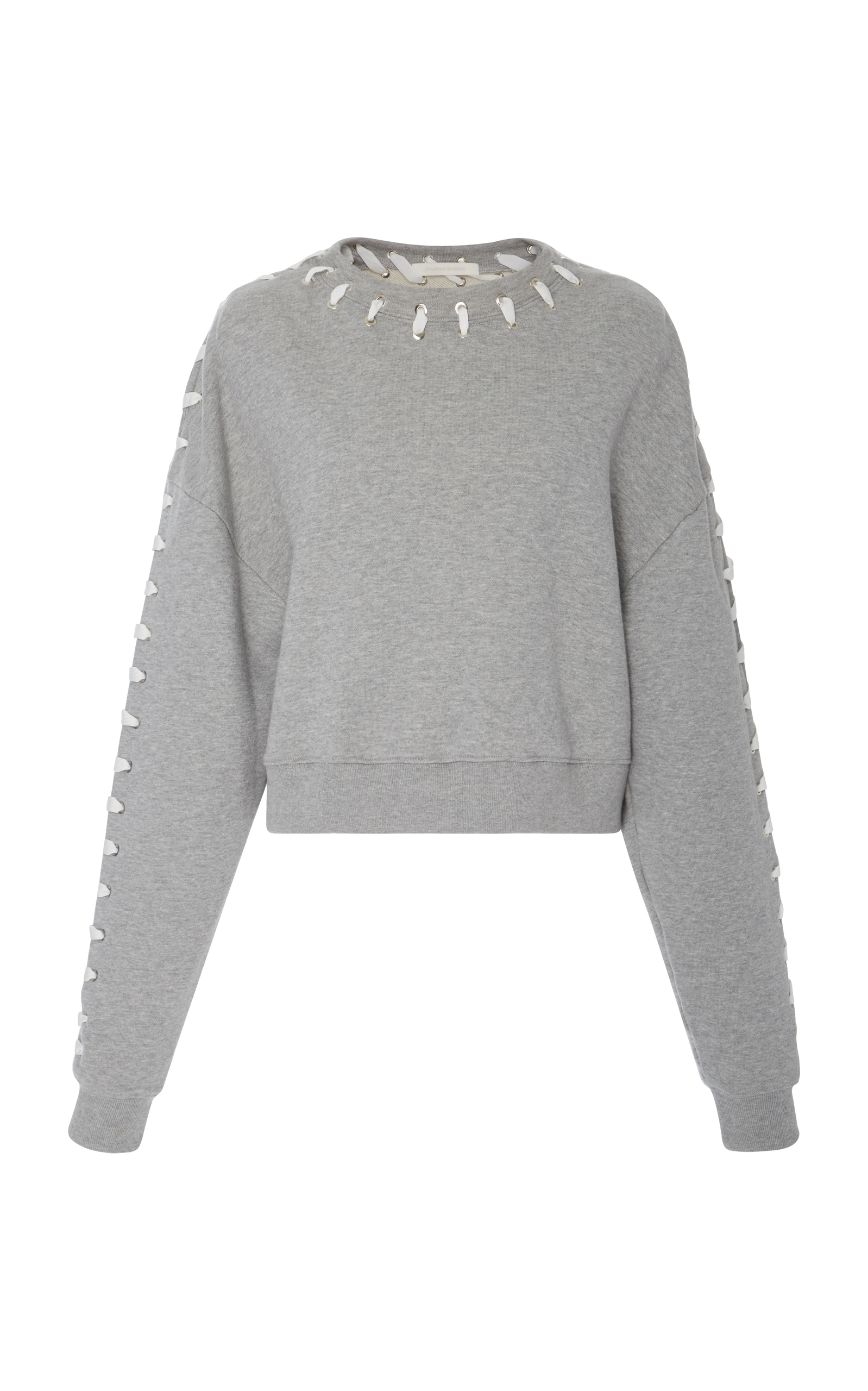 Loopback Whipstitch Cropped Cotton Sweater in Grey