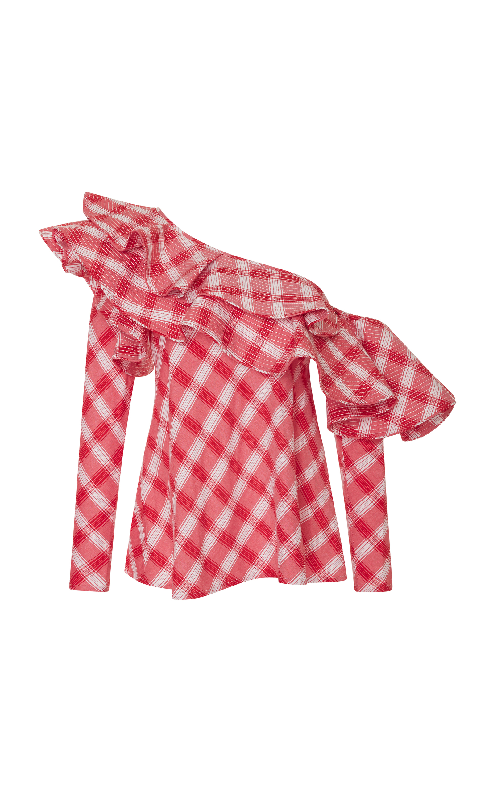 JOHANNA ORTIZ Red/White Mangas Coloradas One Shoulder Ruffled Checked Top