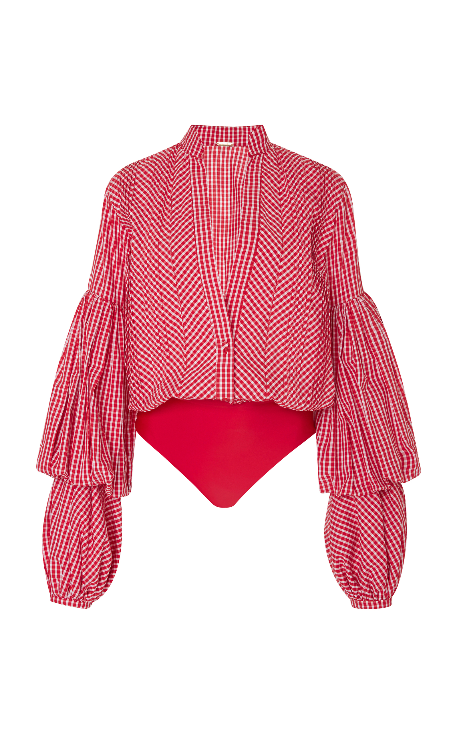 JOHANNA ORTIZ Jicarilla Gingham Cotton-Blend And Stretch-Jersey Bodysuit in Red