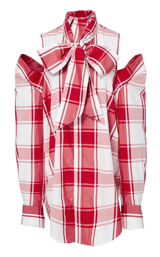 Embellished Cold-Shoulder Checked Cotton-Poplin Shirt, Red