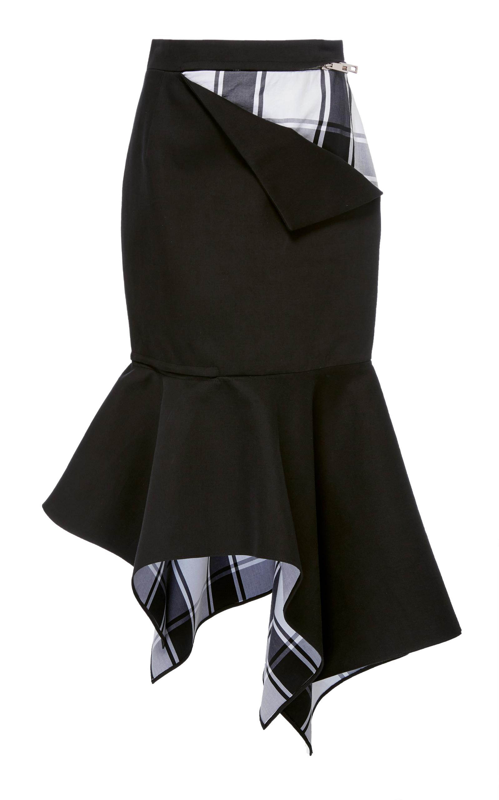 Peek-A-Boo Cotton-Blend Trumpet Skirt in Blue