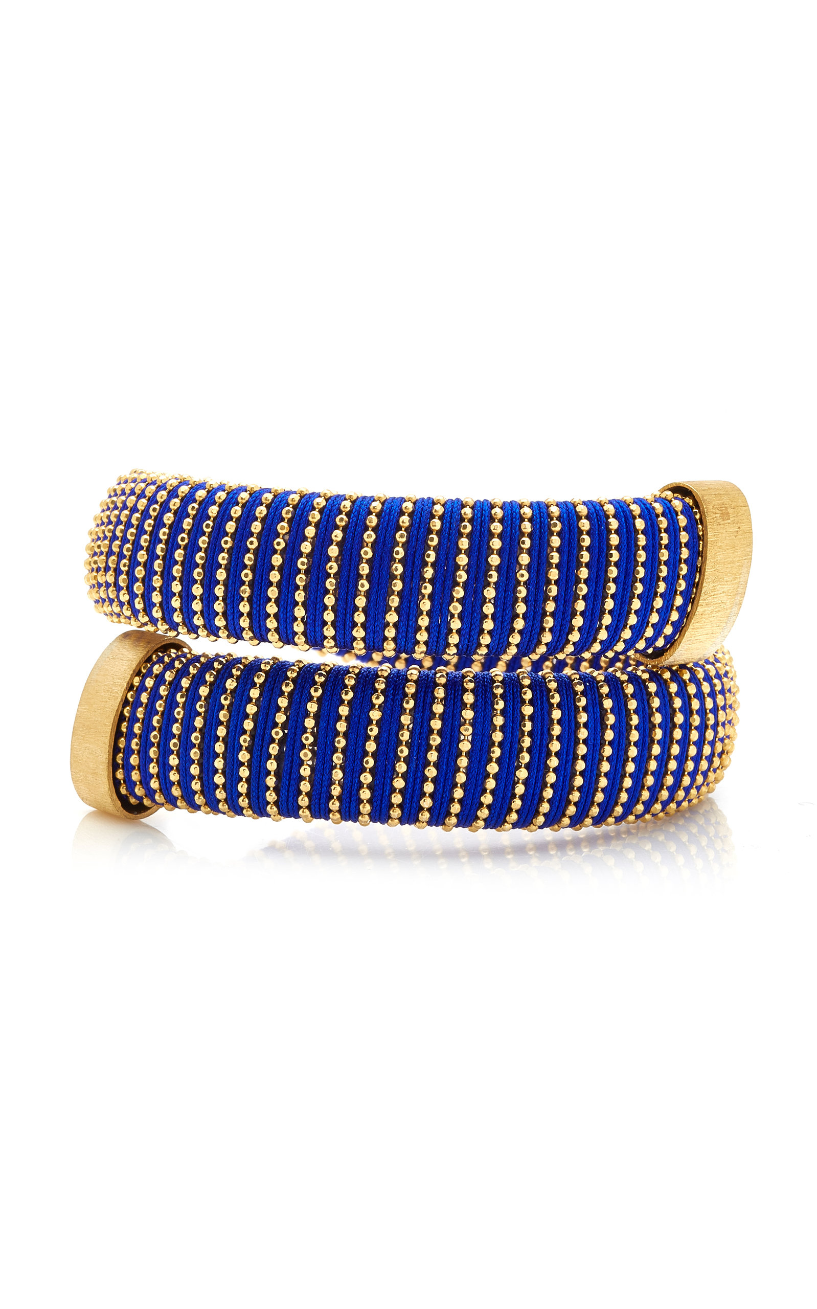 Caro Gold-Plated And Cotton Bracelet, Blue