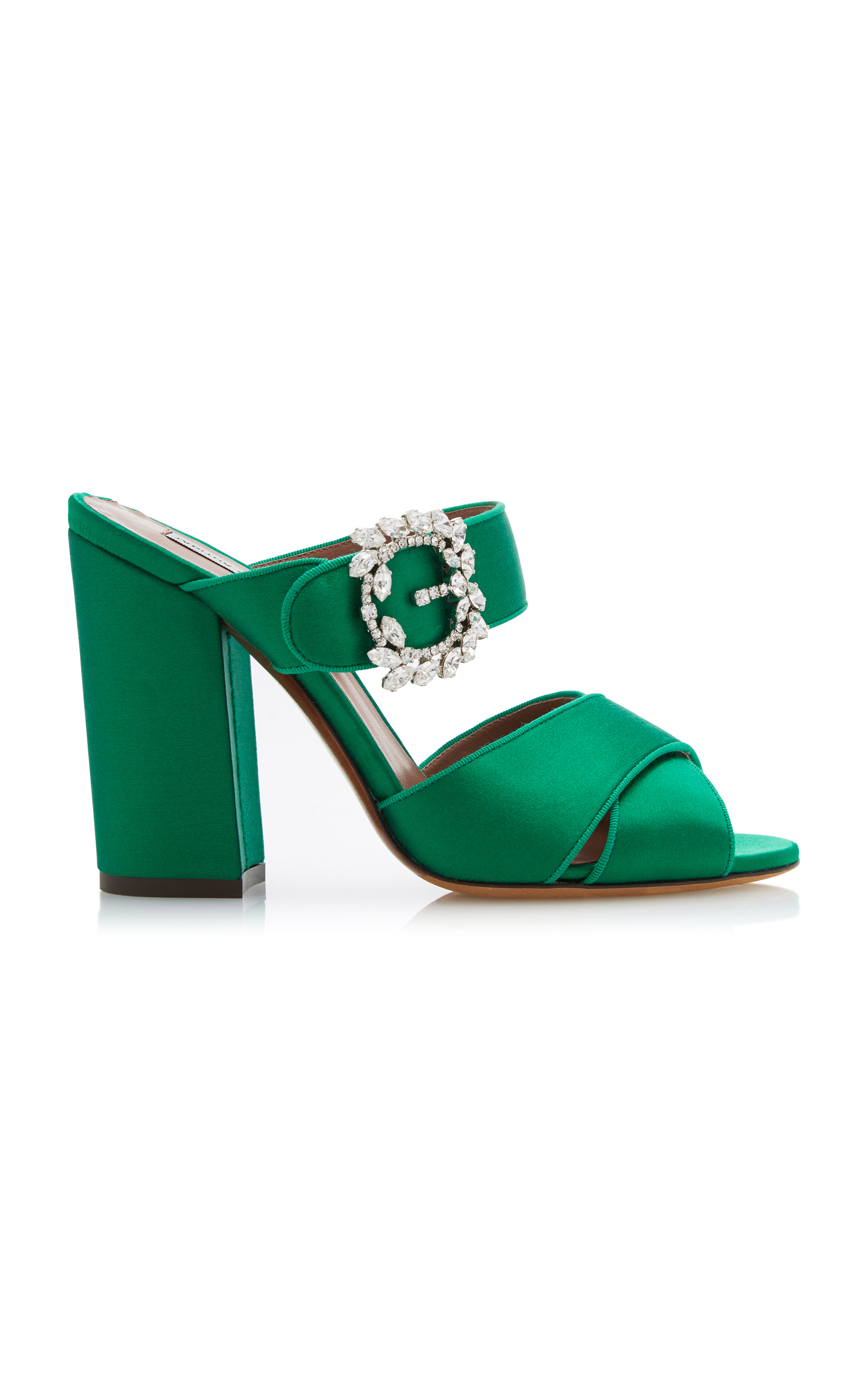 Tabitha Simmons Reyner Embellished Satin Sandals In Green Modesens Clarette Crystal Brown