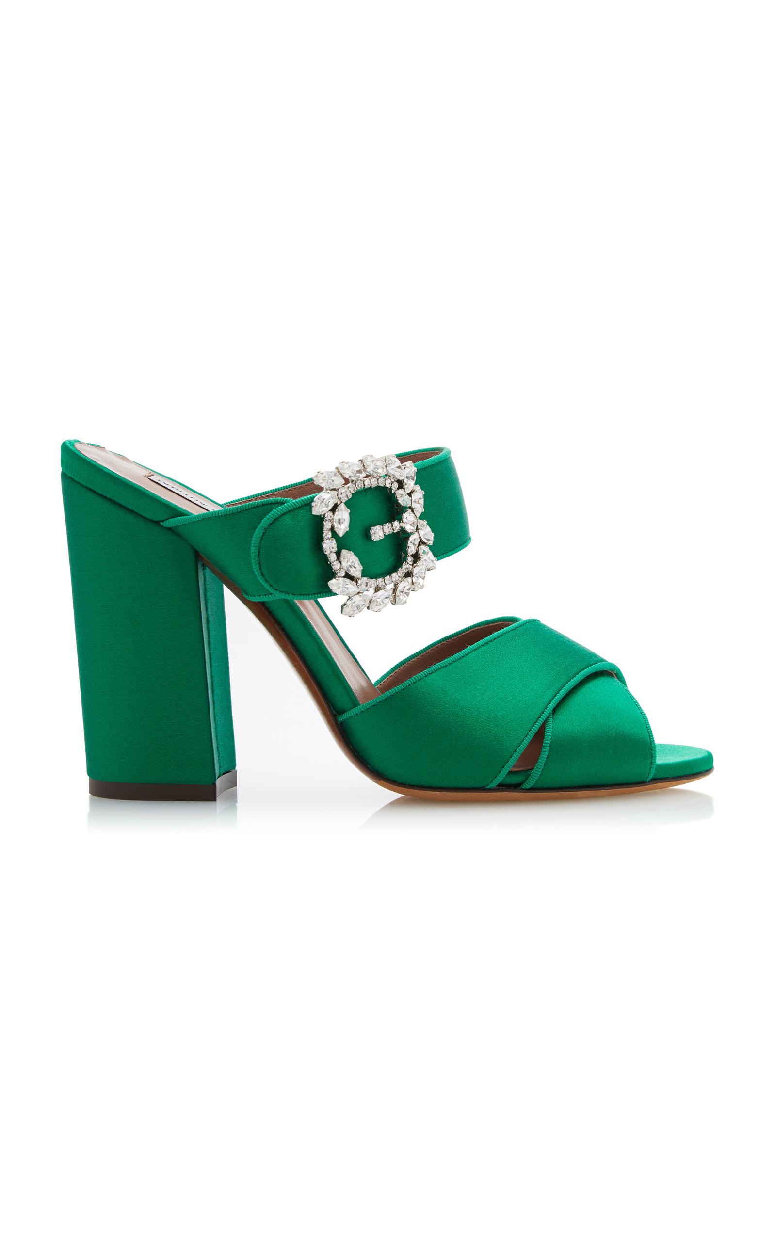 Tabitha Simmons Reyner Embellished Satin Block-Heel Sandals 8R0d2