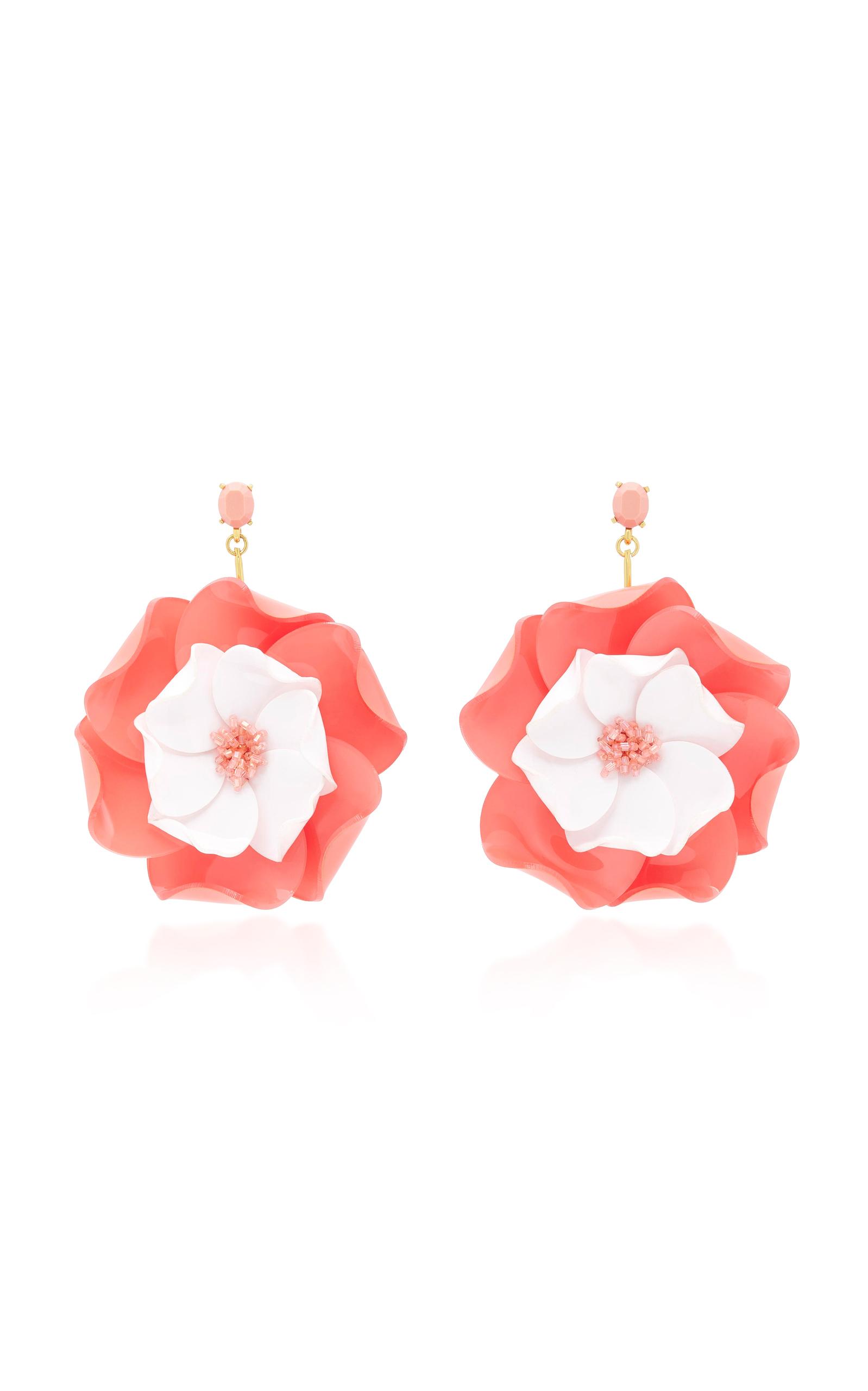 Oscar De La Renta Petunia Long Floral Drop Earrings fURazM0