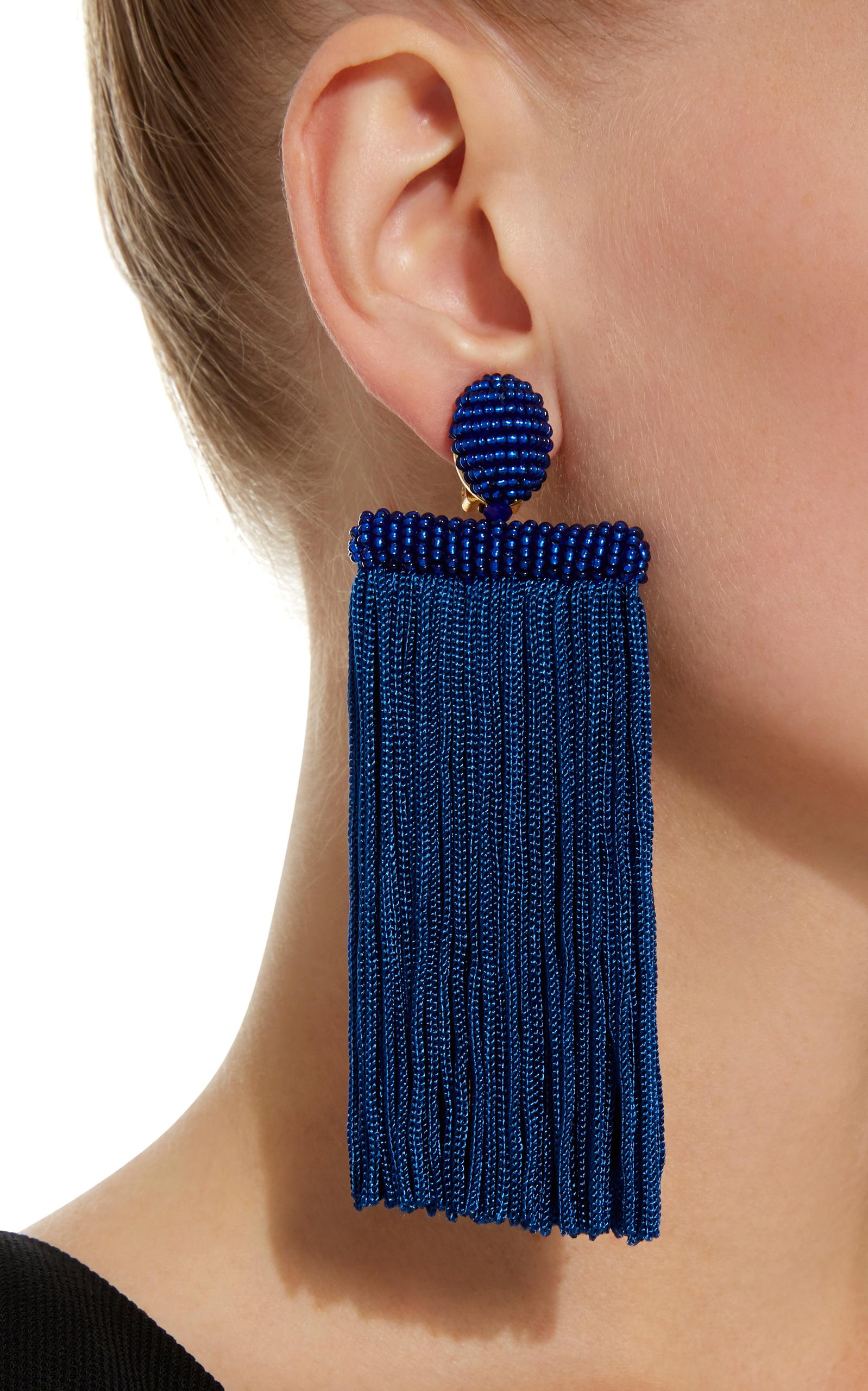 Waterfall Tassel Silk Earrings By Oscar De La Renta Moda Operandi