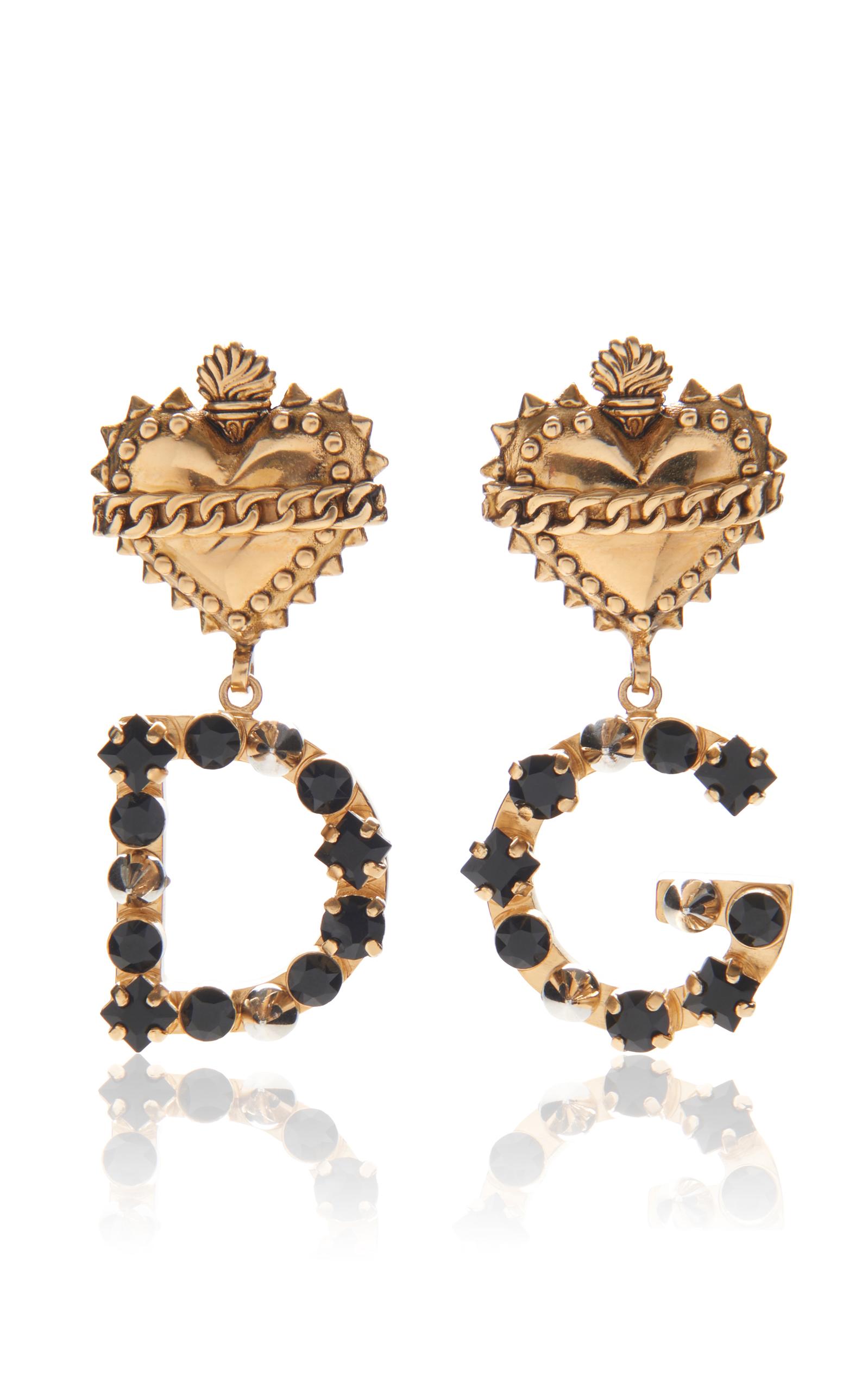Dolce Gabbana Heart Earrings With Logo In Gold