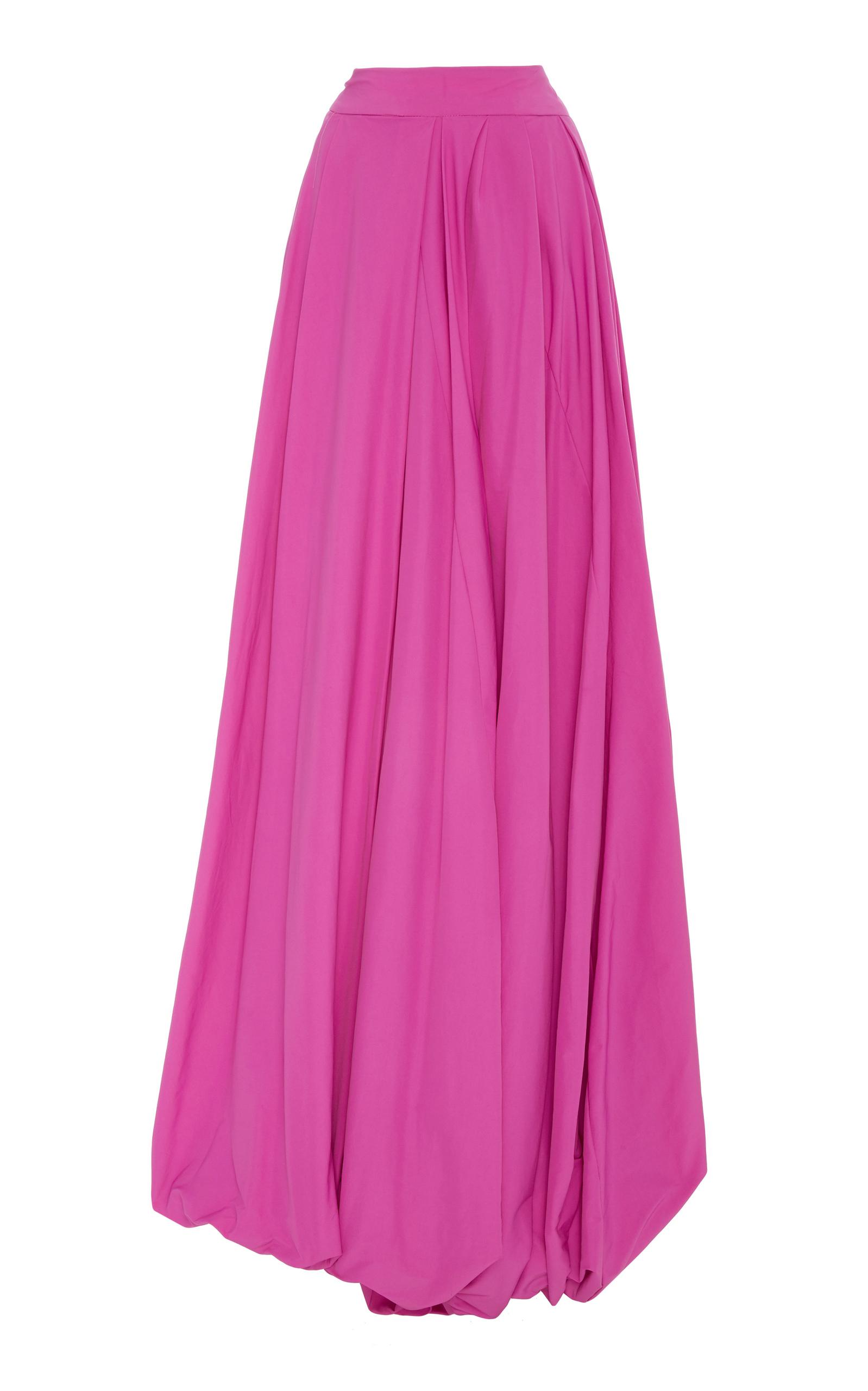 Pleated Poplin High-Waist Maxi Skirt in Pink