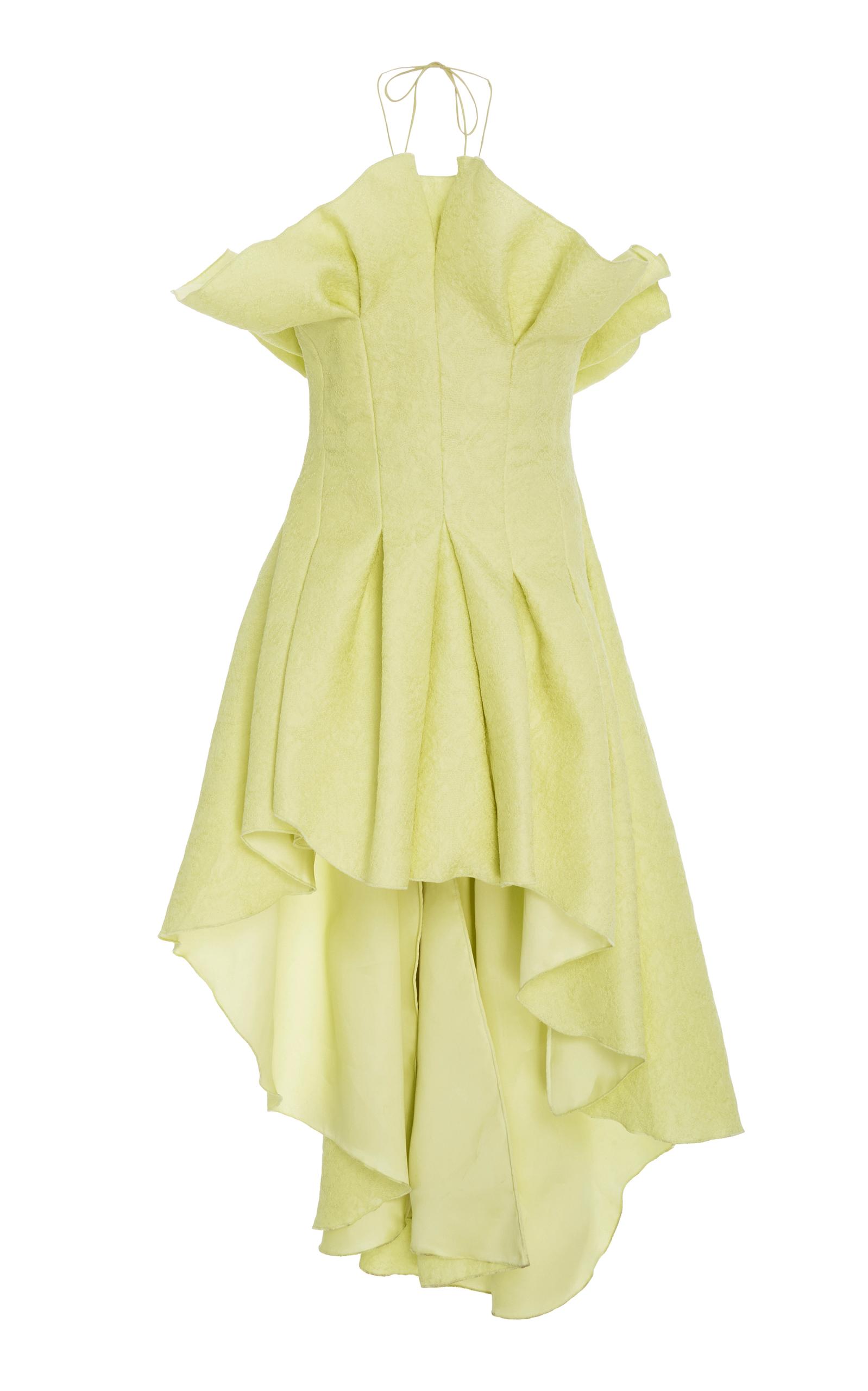 ROSIE ASSOULIN Asymmetric Pleated Silk-Jacquard Top in Yellow