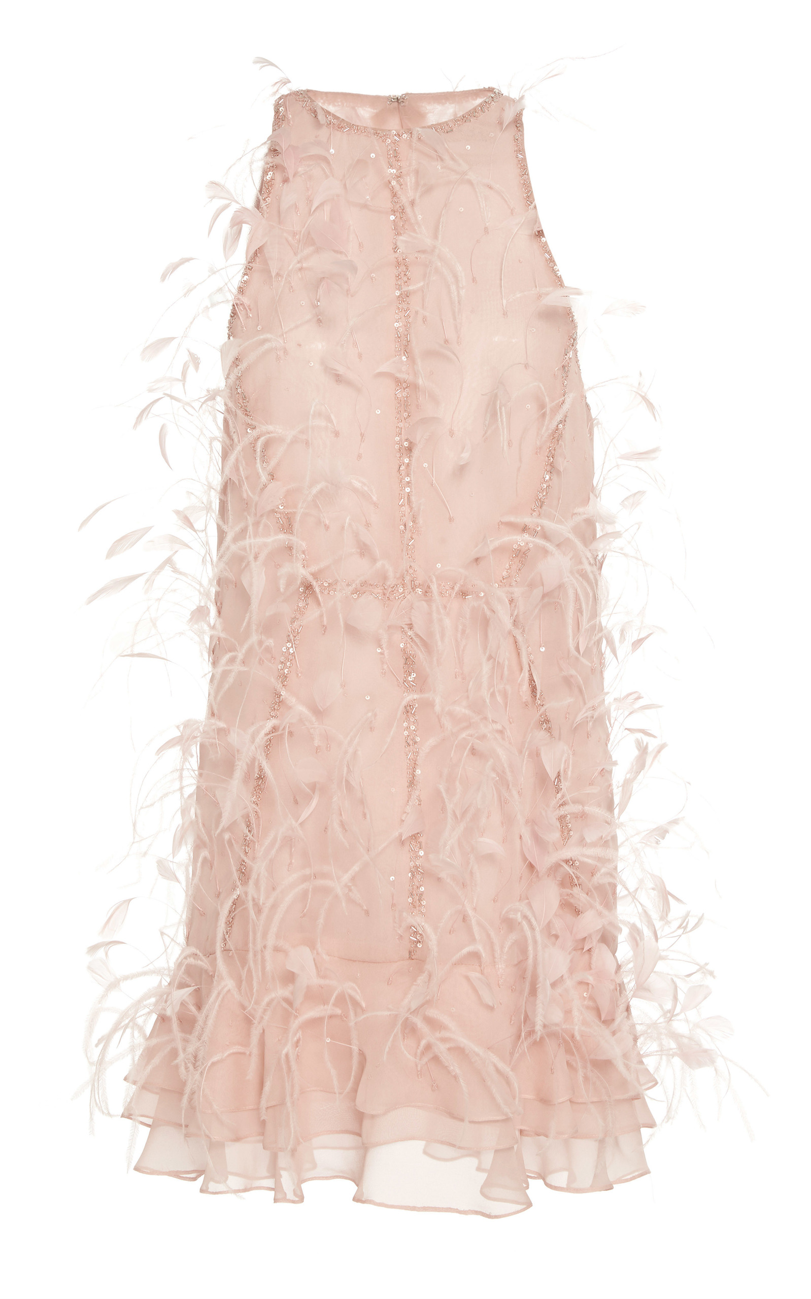 Feather Embroidered Mini Shift Dress by J.