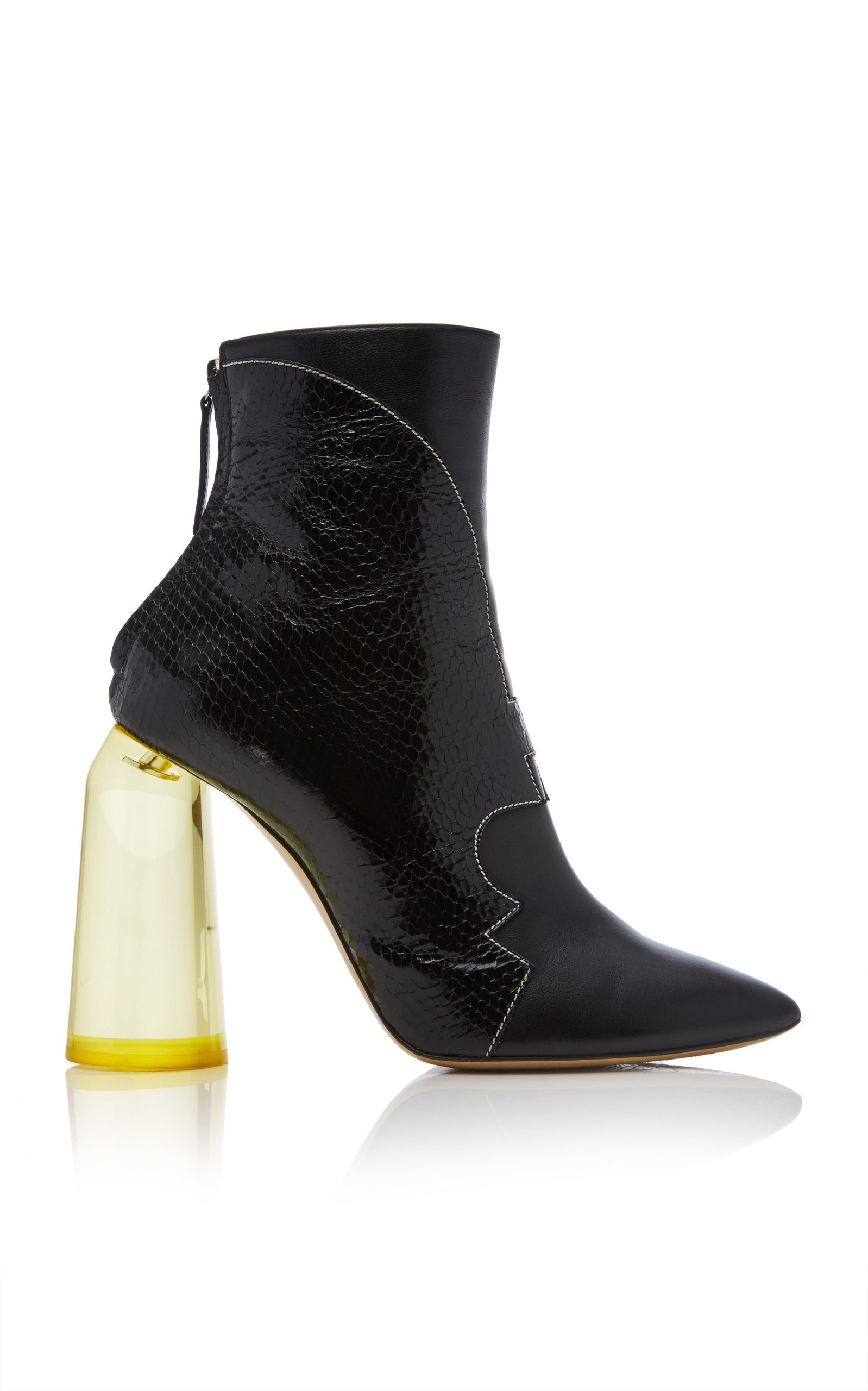 TEMPO PATENT LEATHER SNAKE ANKLE BOOTS