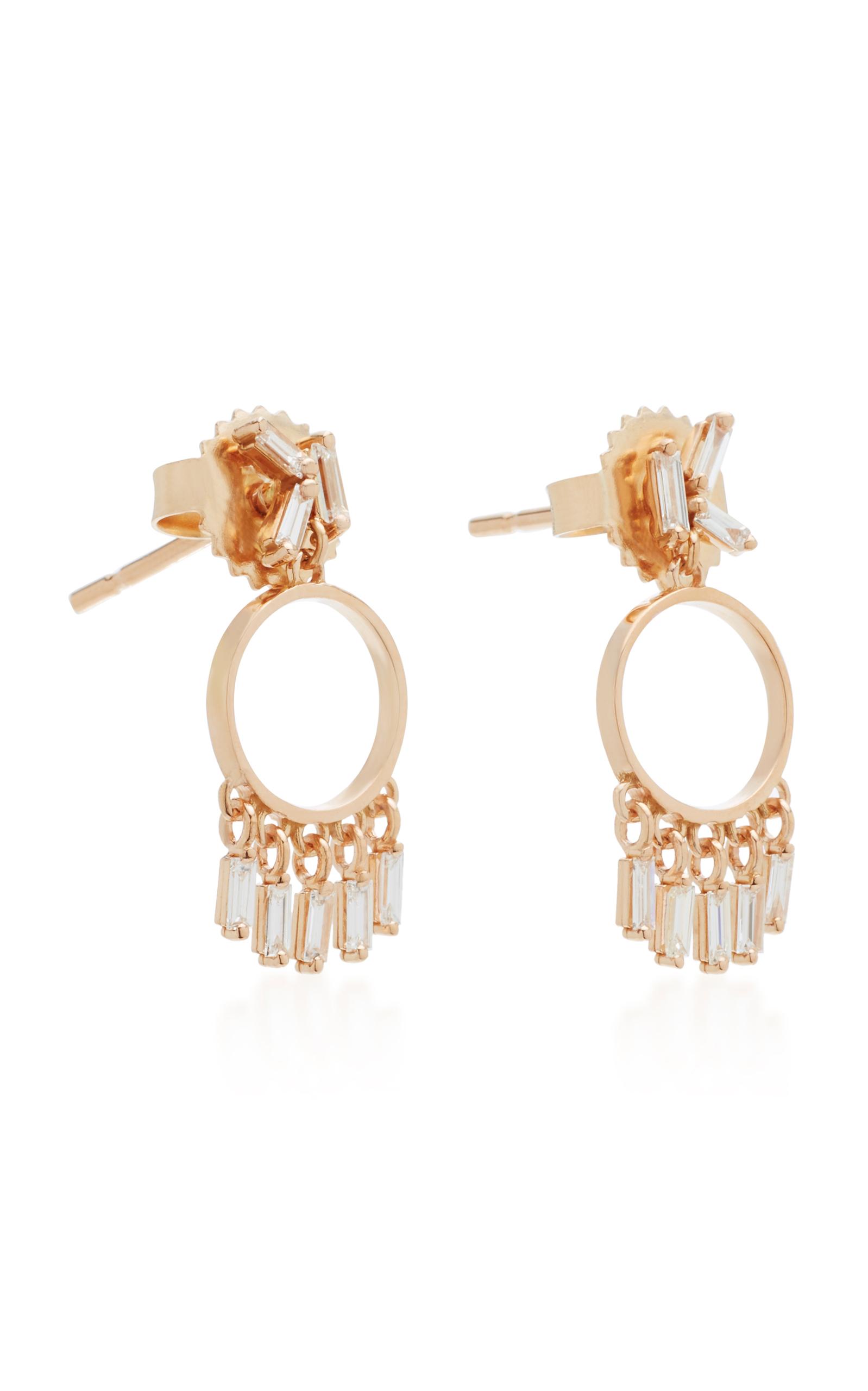 Suzanne Kalan 18k Rose Gold Baguette Diamond Hoop Earrings 53gvvPkt0