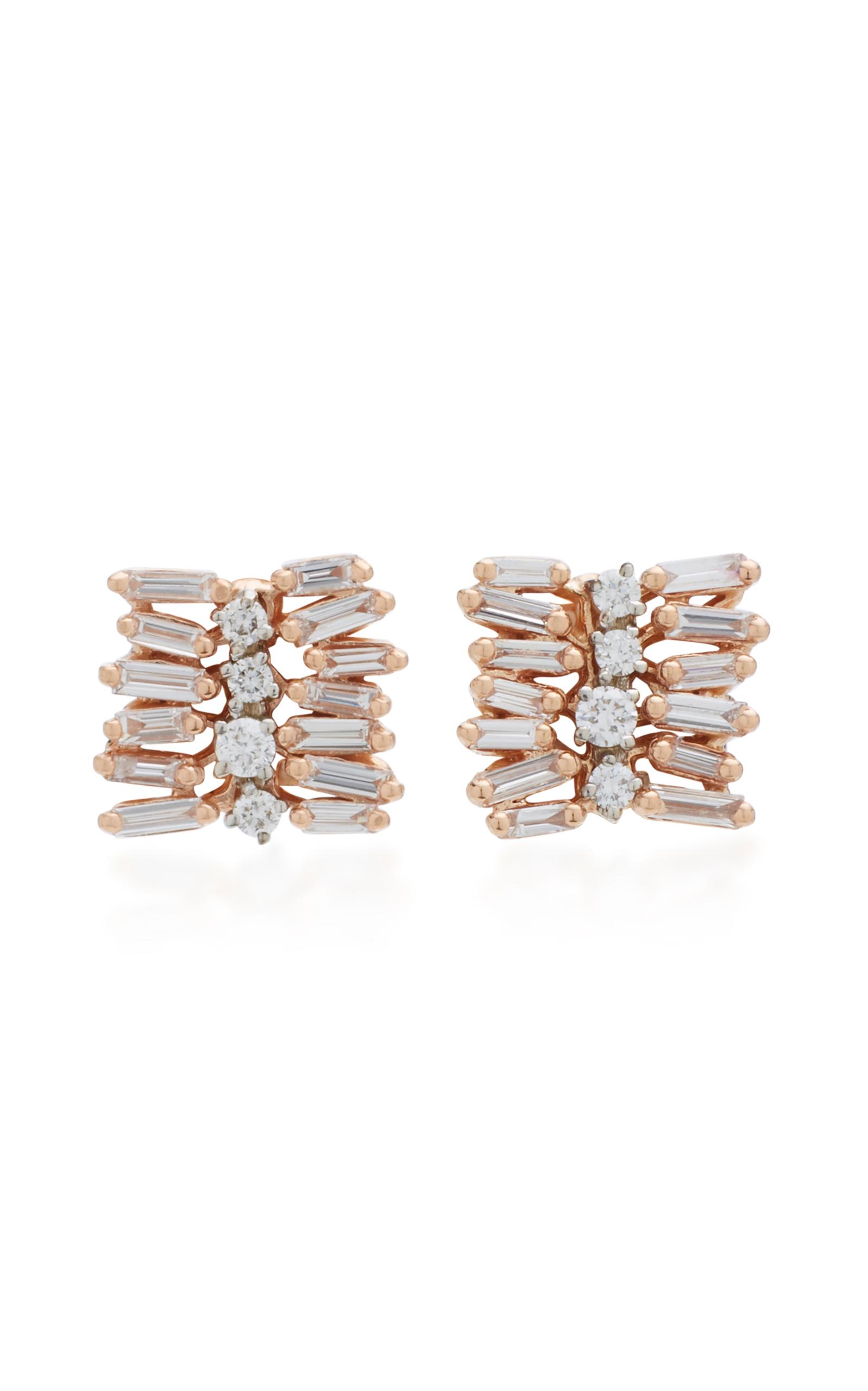 Moda Operandi | Small Post 18K Rose Gold Diamond Earrings by Suzanne