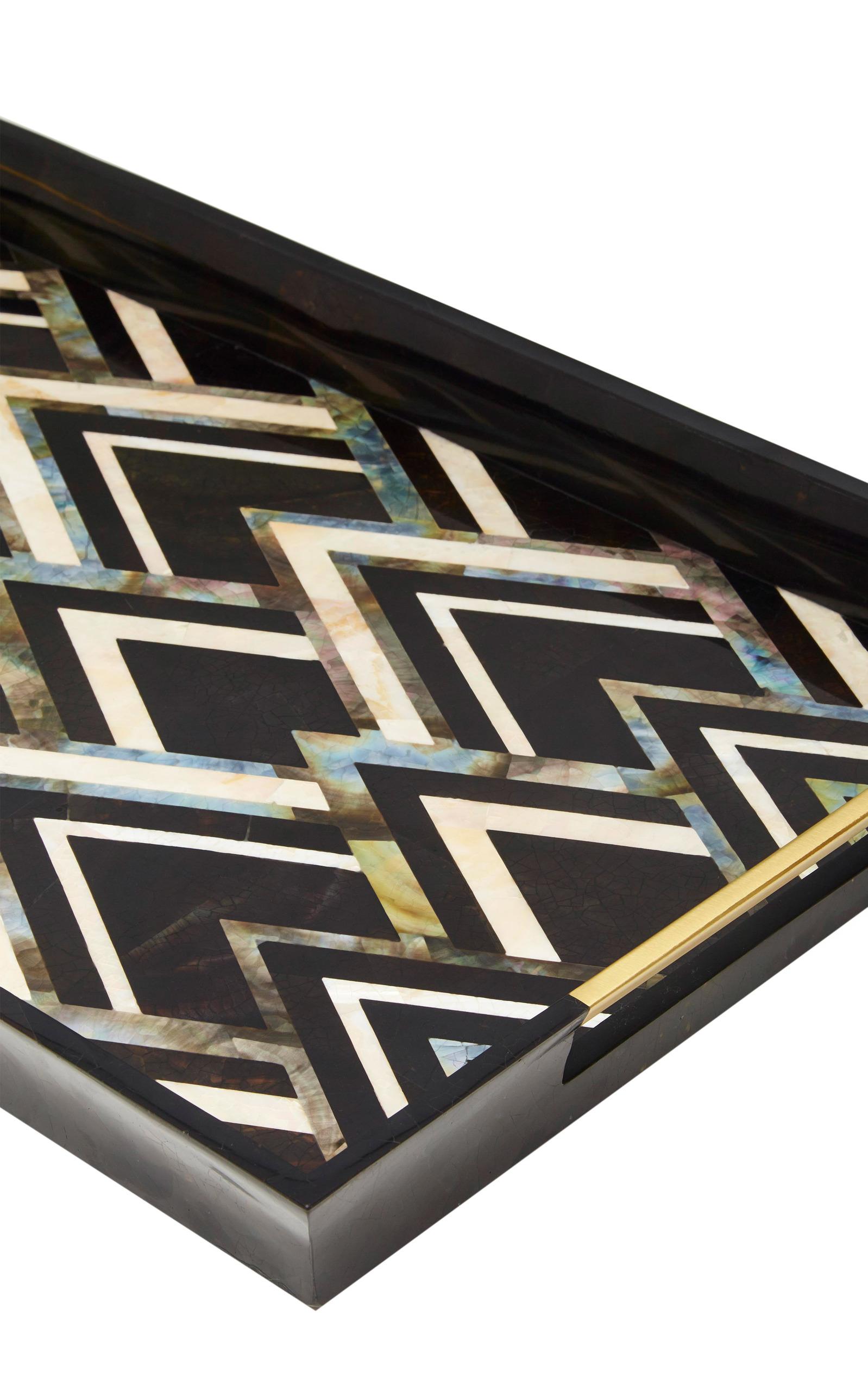 Lobjetdeco noir large rectangular tray close loading