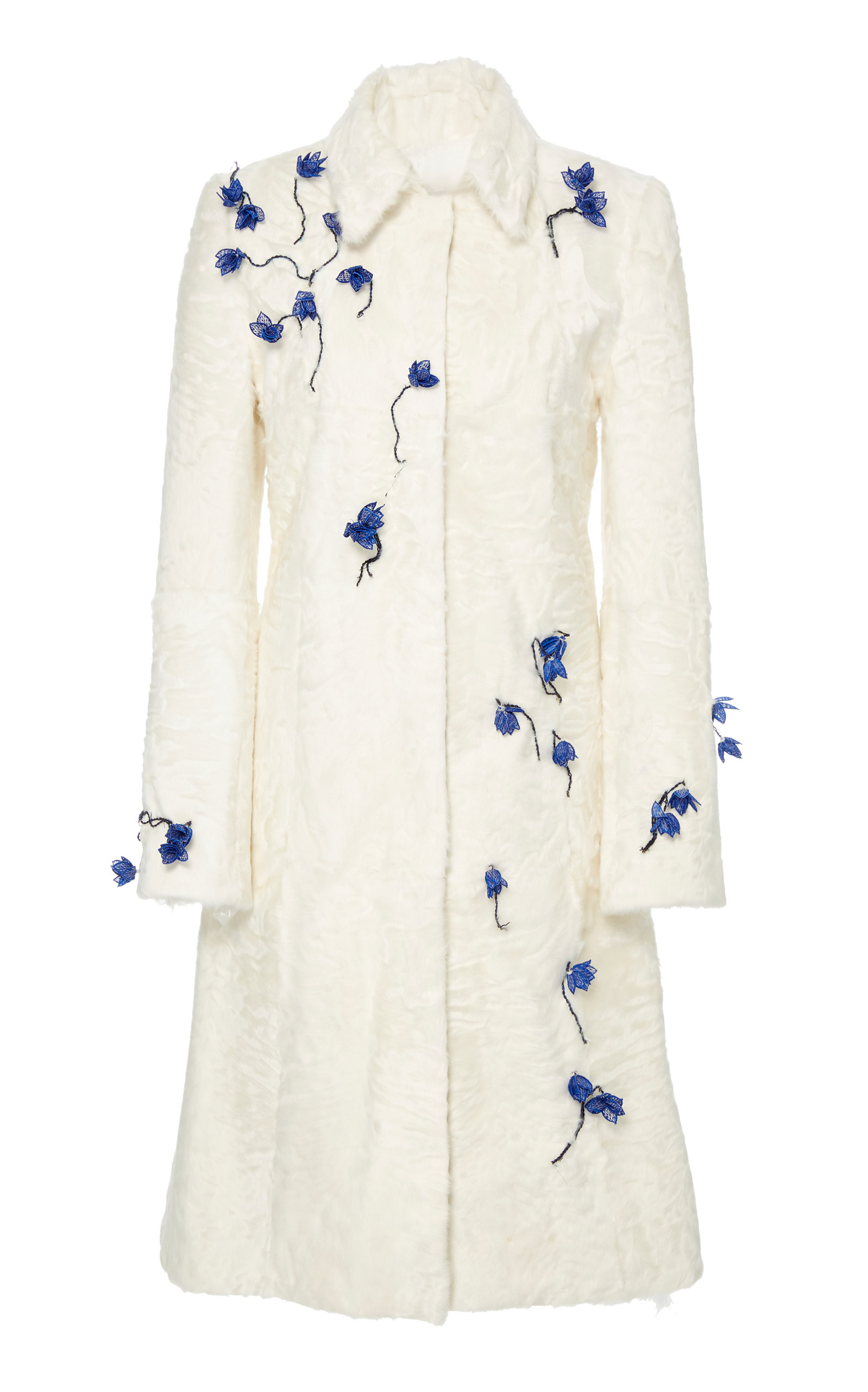 Floral embroidered lamb collar coat by carolina moda