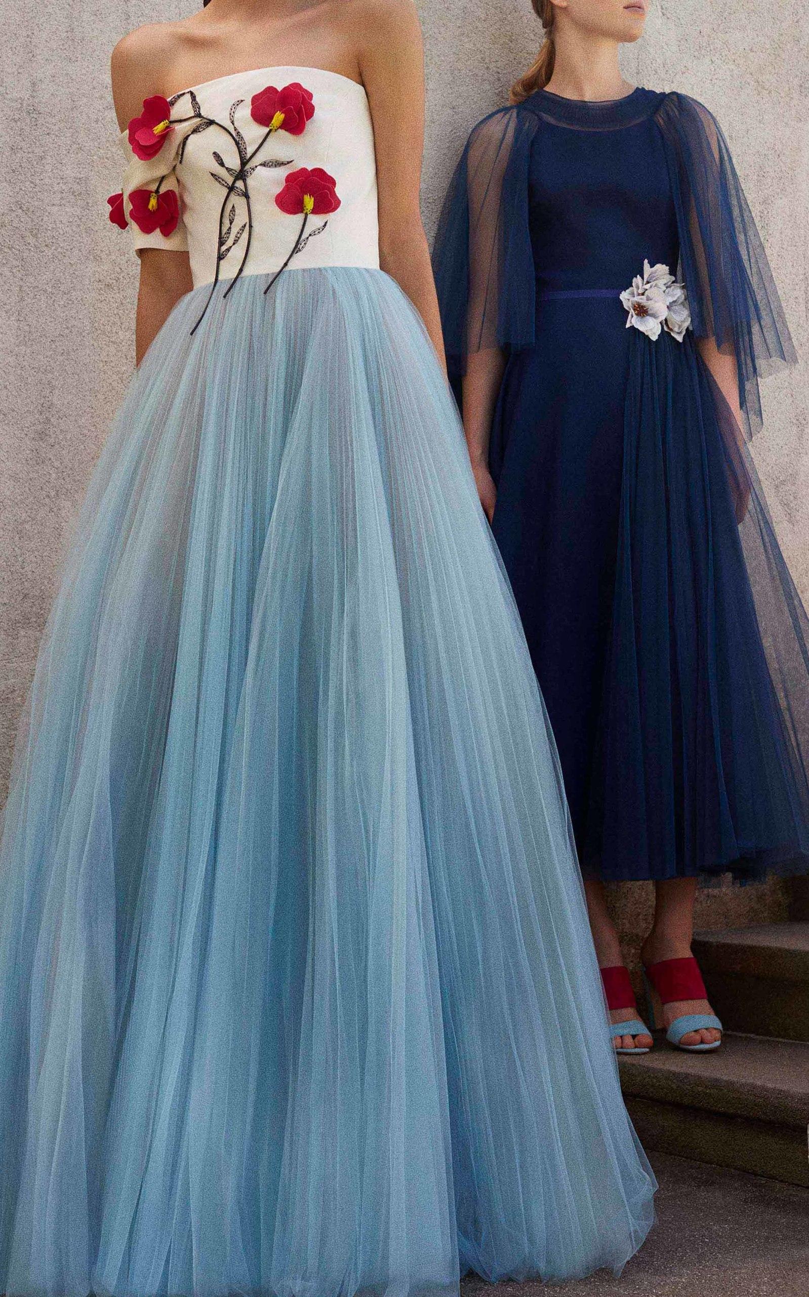 Floral Embroidered Tulle Ball Gown By Carolina Herrera Moda Operandi