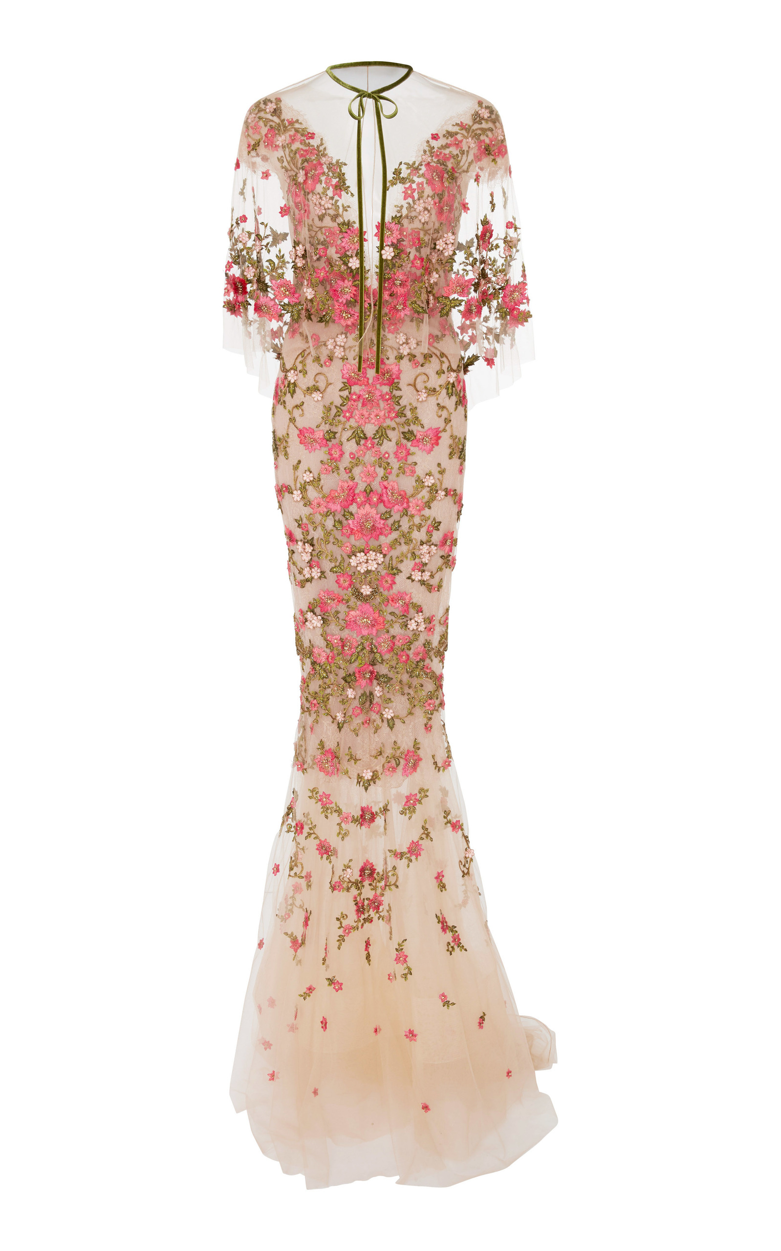 a30492a9 Floral Embroidered Dress With Capelet by Marchesa | Moda Operandi