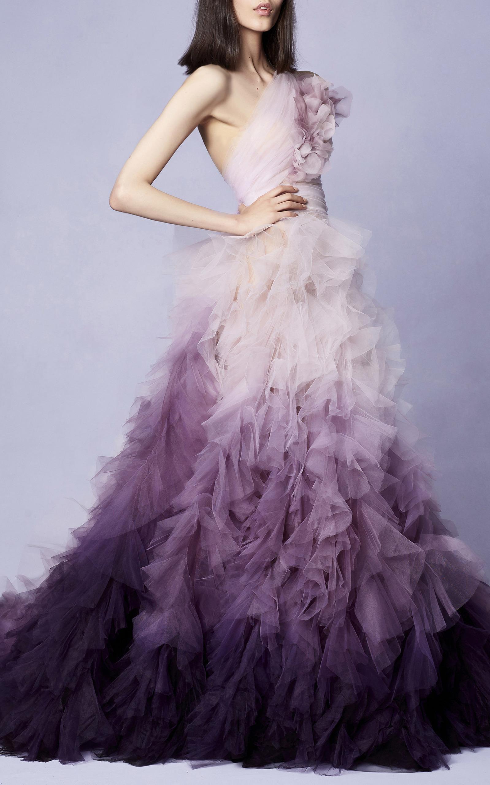 One Shoulder Ombre Gown by Marchesa | Moda Operandi