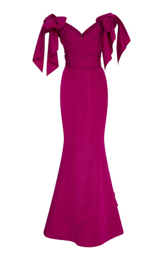 a7a7567de759 MarchesaOff The Shoulder Bow Sleeve Gown