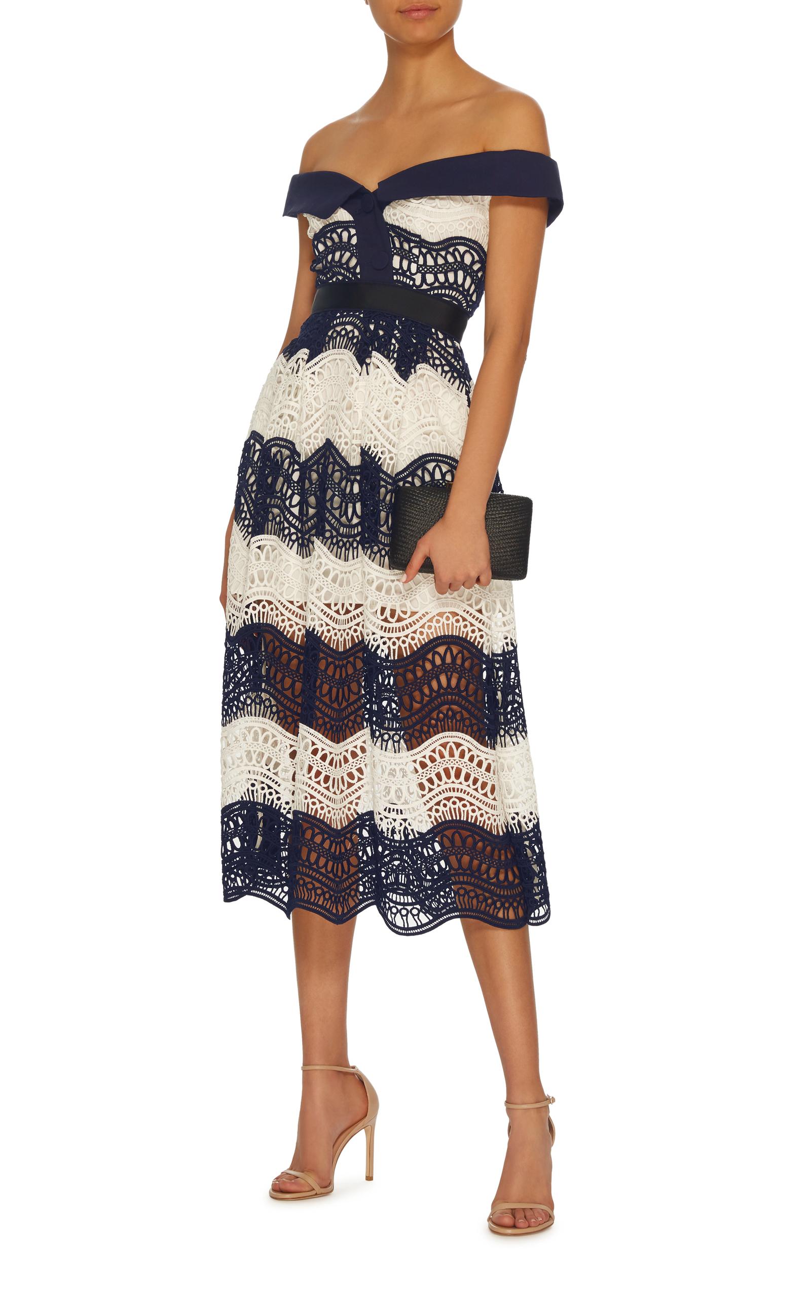0b579f036a7d3 Self PortraitOff-The-Shoulder Wave Guipure Lace Midi Dress. CLOSE. Loading